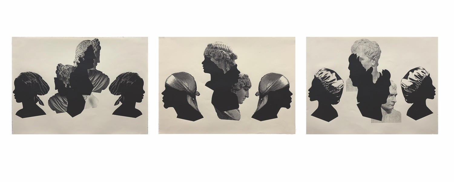 Triptych of three prints conveying silhouette profiles on the left and right of black people with bitmapped roman sculpture heads in the middle.