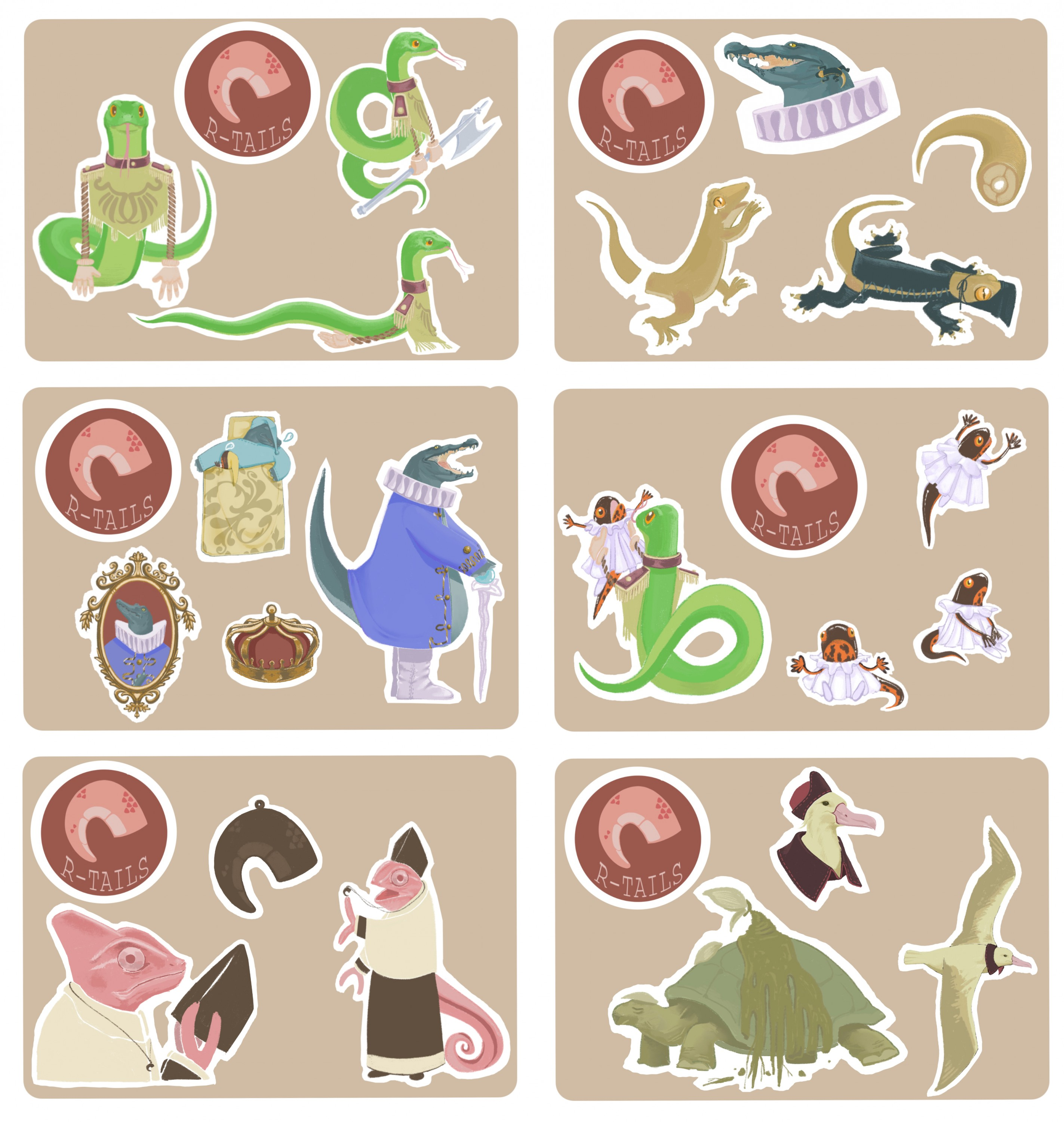 All the character designs are integrated into the form of stickers.