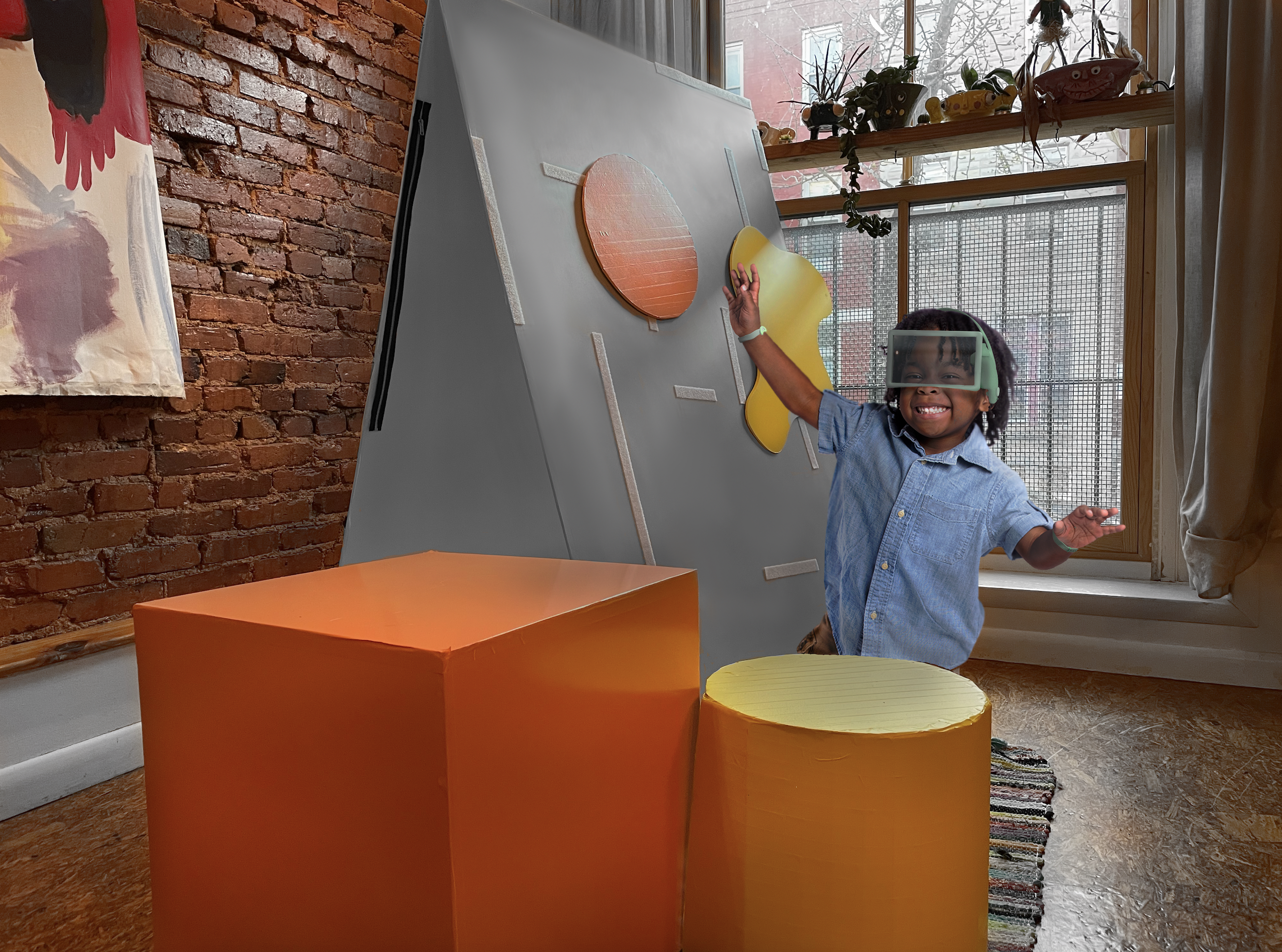 Imers is a therapeutic device that is a playful experience that helps increase oxytocin level in the brain by engaging children in physical movement, sound and visual guided mediation, lateral alternating stimulation-tactile