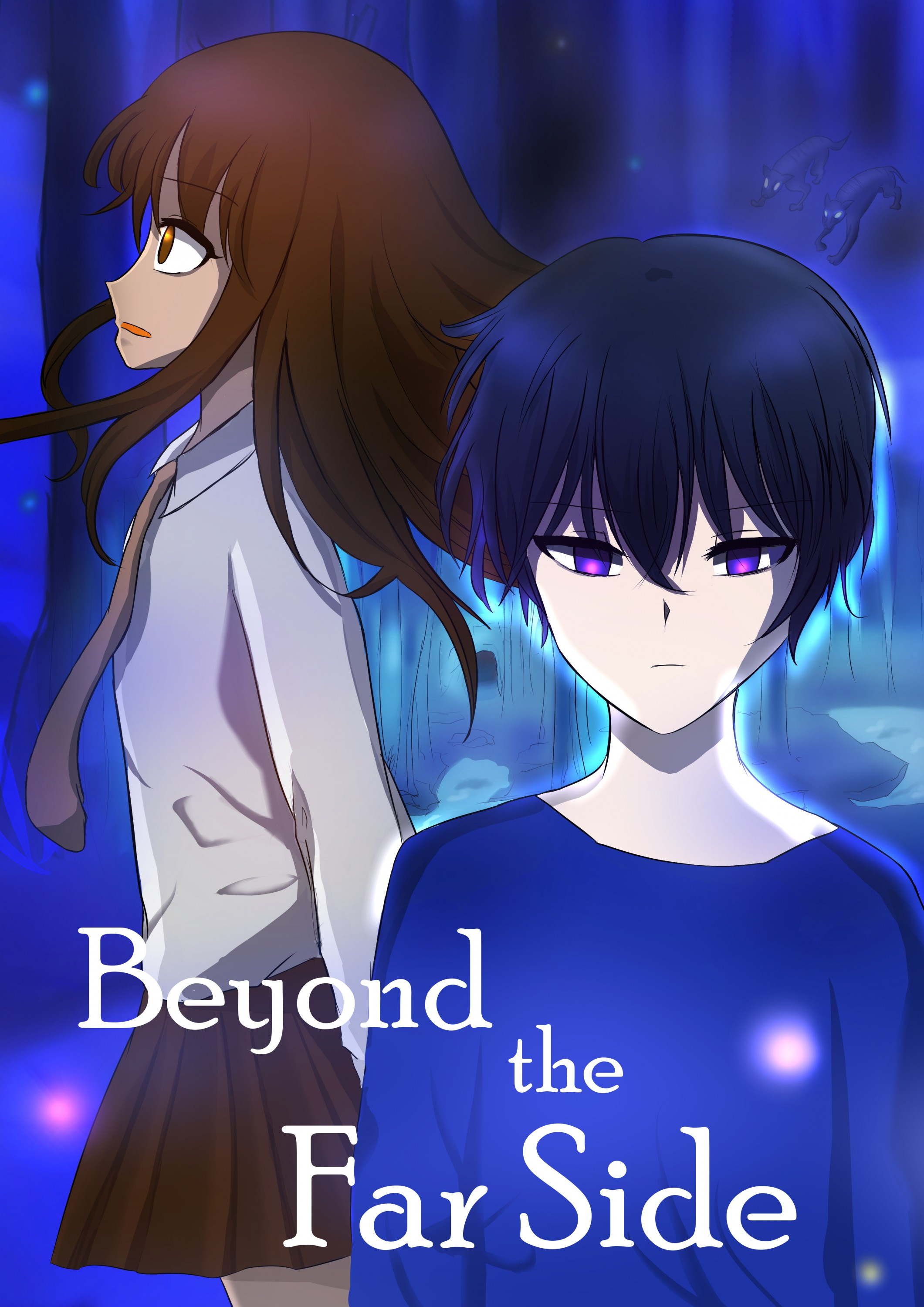 It is the poster for animated film, Beyond the Far Side. There are two main characters in dark blue mystic forest.
