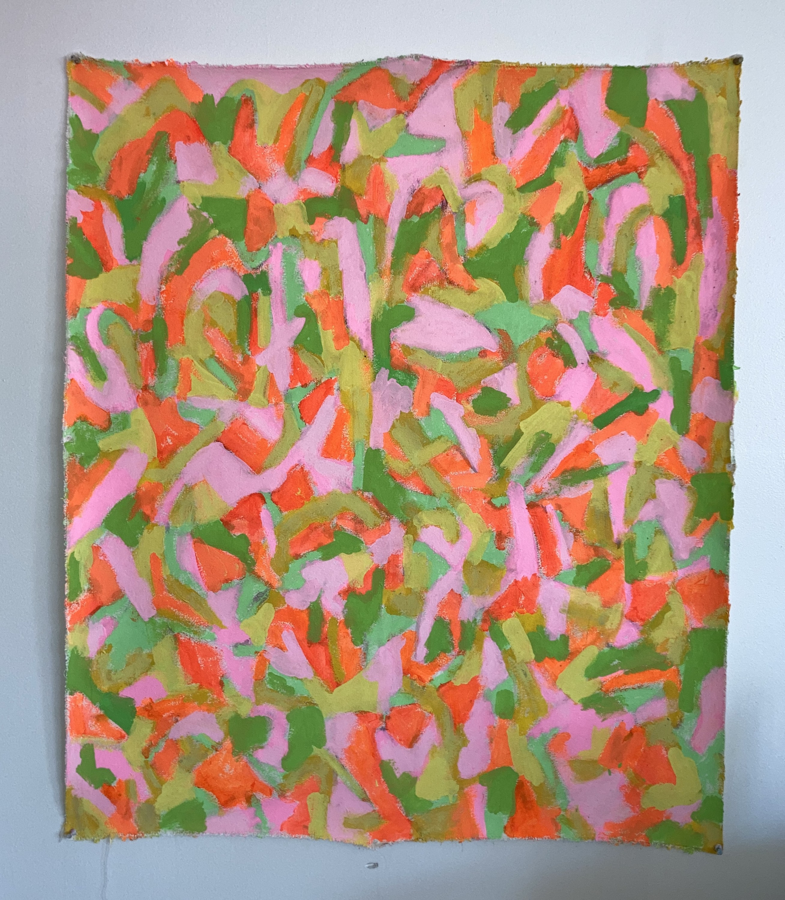 pink, green, yellow, orange abstract painting