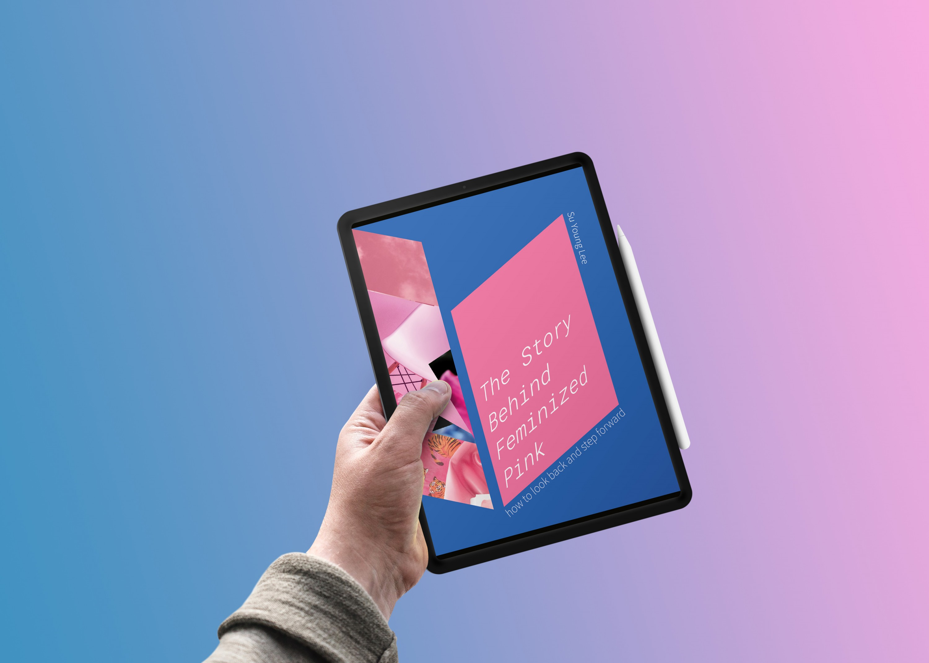It is a digital book that shows the cover as its main image. The cover has medium-dark blue as its background. There's a vertical parallelogram that has a collage of various images with pink colors on the left side. Some of them are still objects, and som