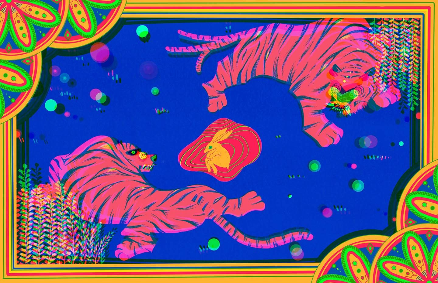 TWO TIGERS CIRCLING AROUND EACH OTHER ON A BLUE PLAIN. A DYING RABBIT BLEEDS OUT IN THE CENTER.