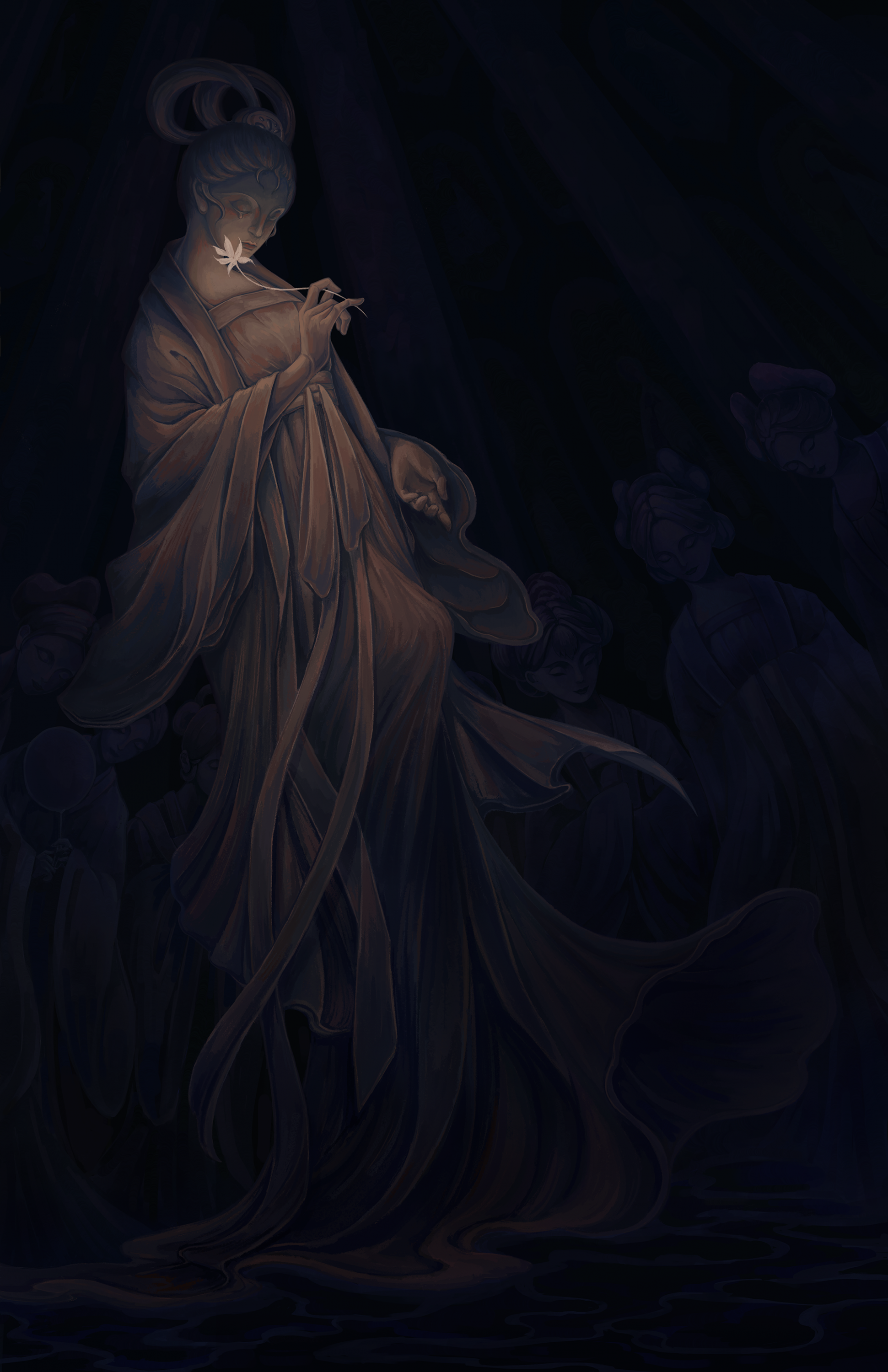 As times change, people now have forgotten the sacred cave where they worshiped their gods and goddesses. After other gods and goddesses left, the faint light from the flower held by the last goddess illuminated her face and her tear in the dimness.