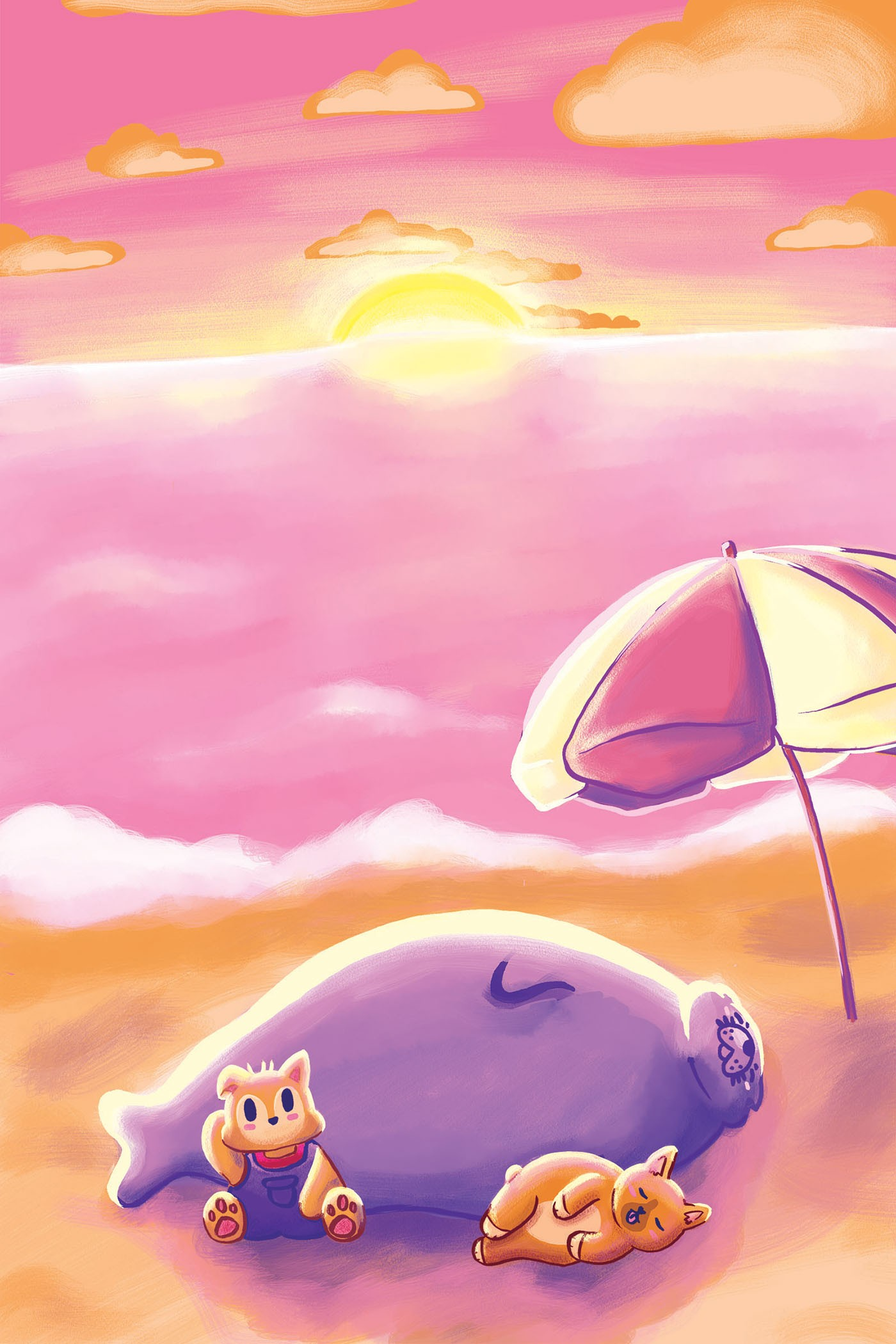 Three animals (a seal, a fox with overalls, and a corgi) are laying peacefully on the sand and napping with the sea/ocean behind them and a beach umbrella stuck in the sand. The sun is setting and creating rippling reflections of light in the water.