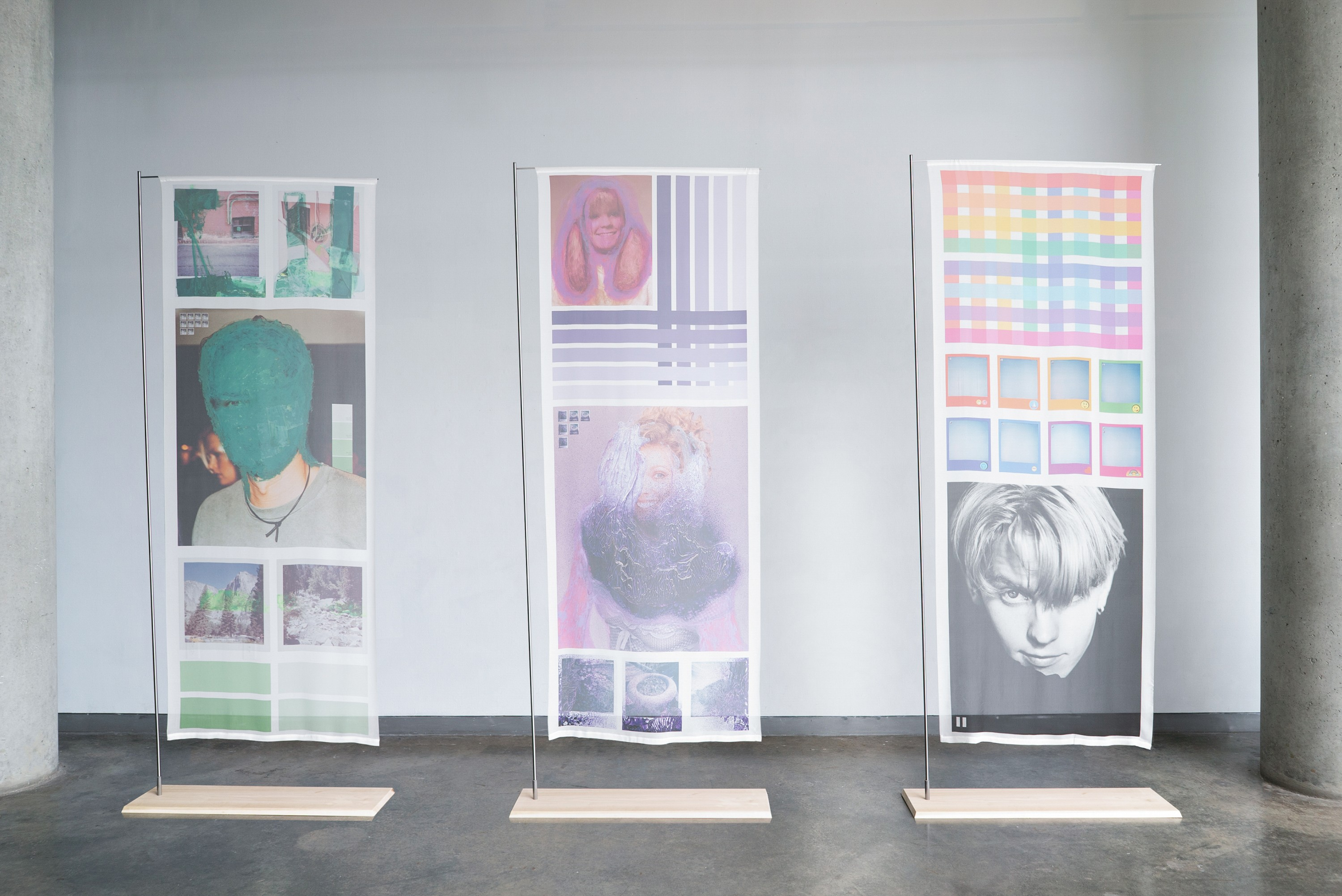 Three large silk scrolls containing colorful grid-styles layouts of collages on instant and found imagery.