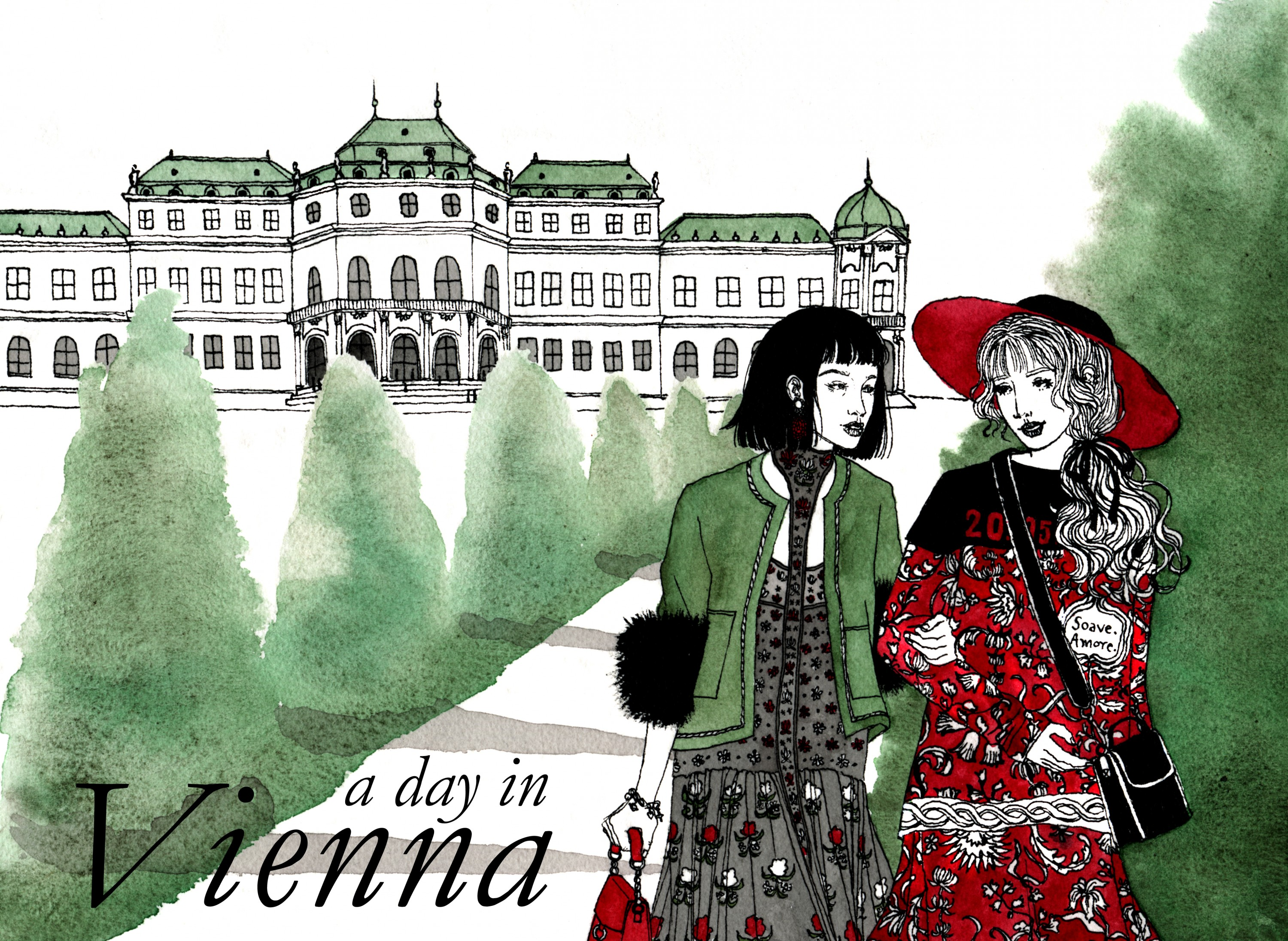 Two women walk the grounds of Vienna's Belvedere Palace.