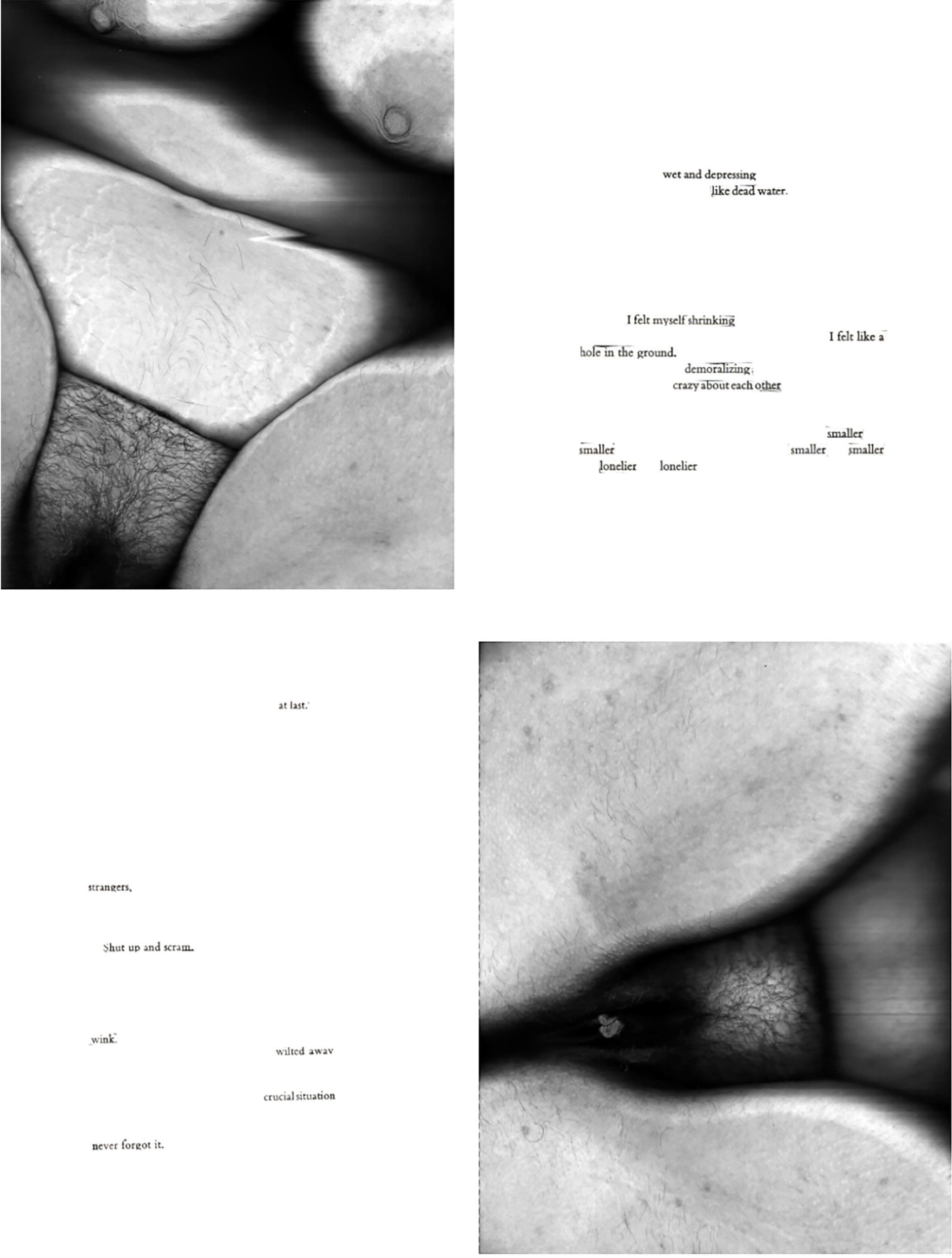 """Five black and white spreads with breasts and stomach scans with accompanying poems. 1st poems reads: """"I knew something was wrong with me, uncomfortable, little successes, so happily, slick, I was supposed to be having the time of my life, envy, girls jus"""