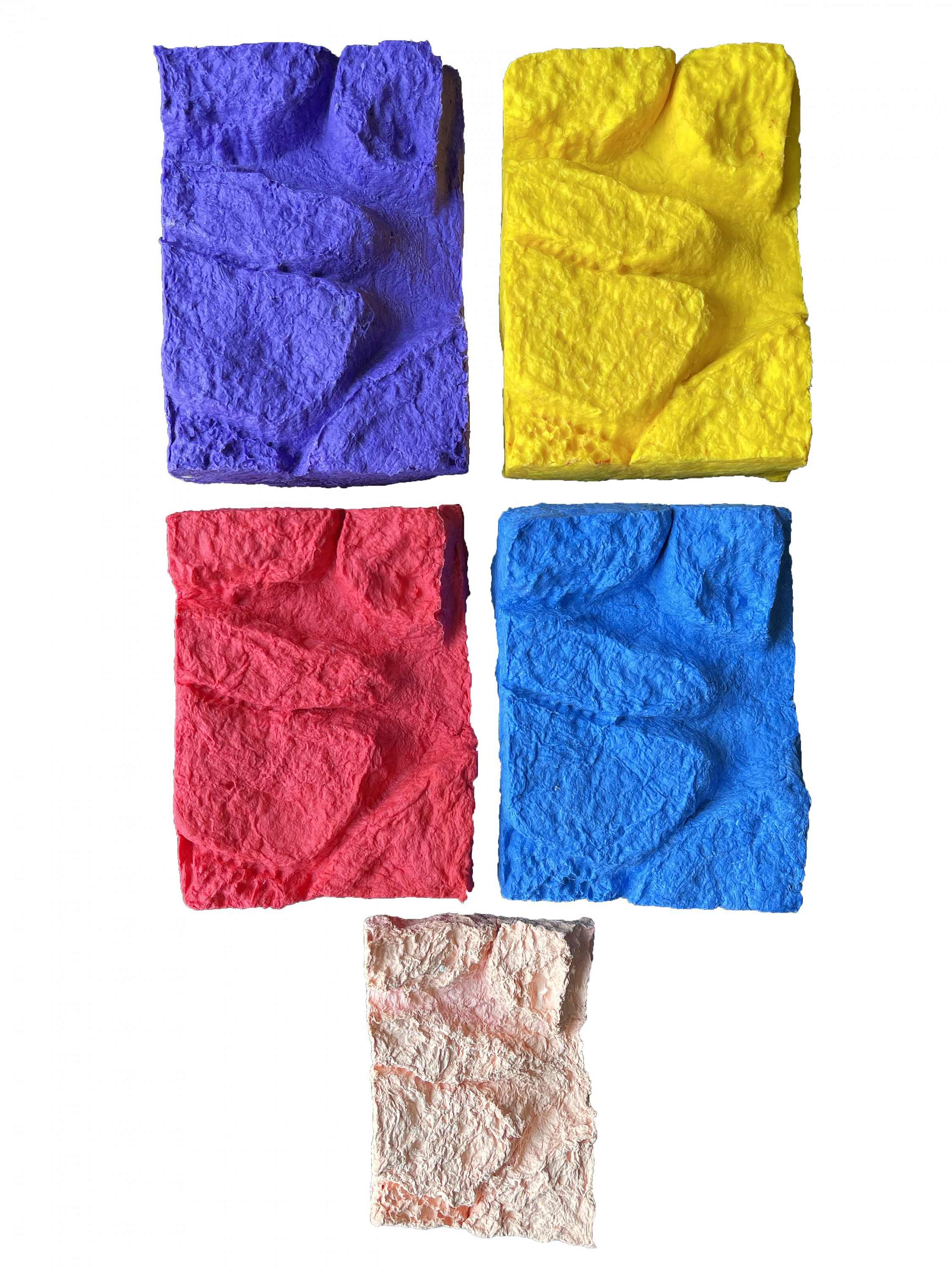 First two images show five (yellow, purple, red, blue, light pink) paper sculptures of a female torso stacked on top of each other. Second image shows the five (yellow, purple, red, blue, light pink) paper sculptures lined up showing each individual piece