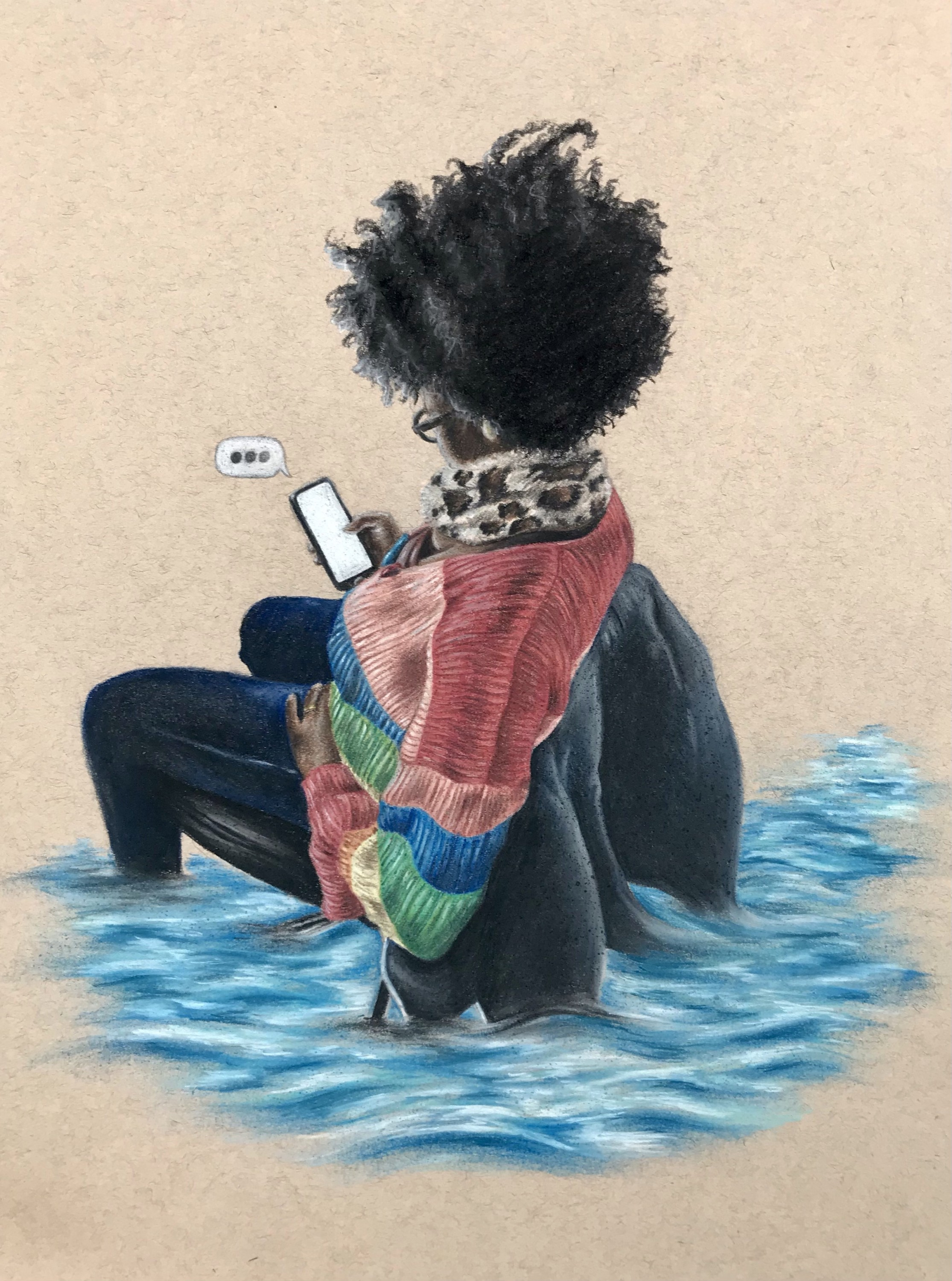 Black subject wearing a colorful fabric sweater holding a cellular device submerged in water.