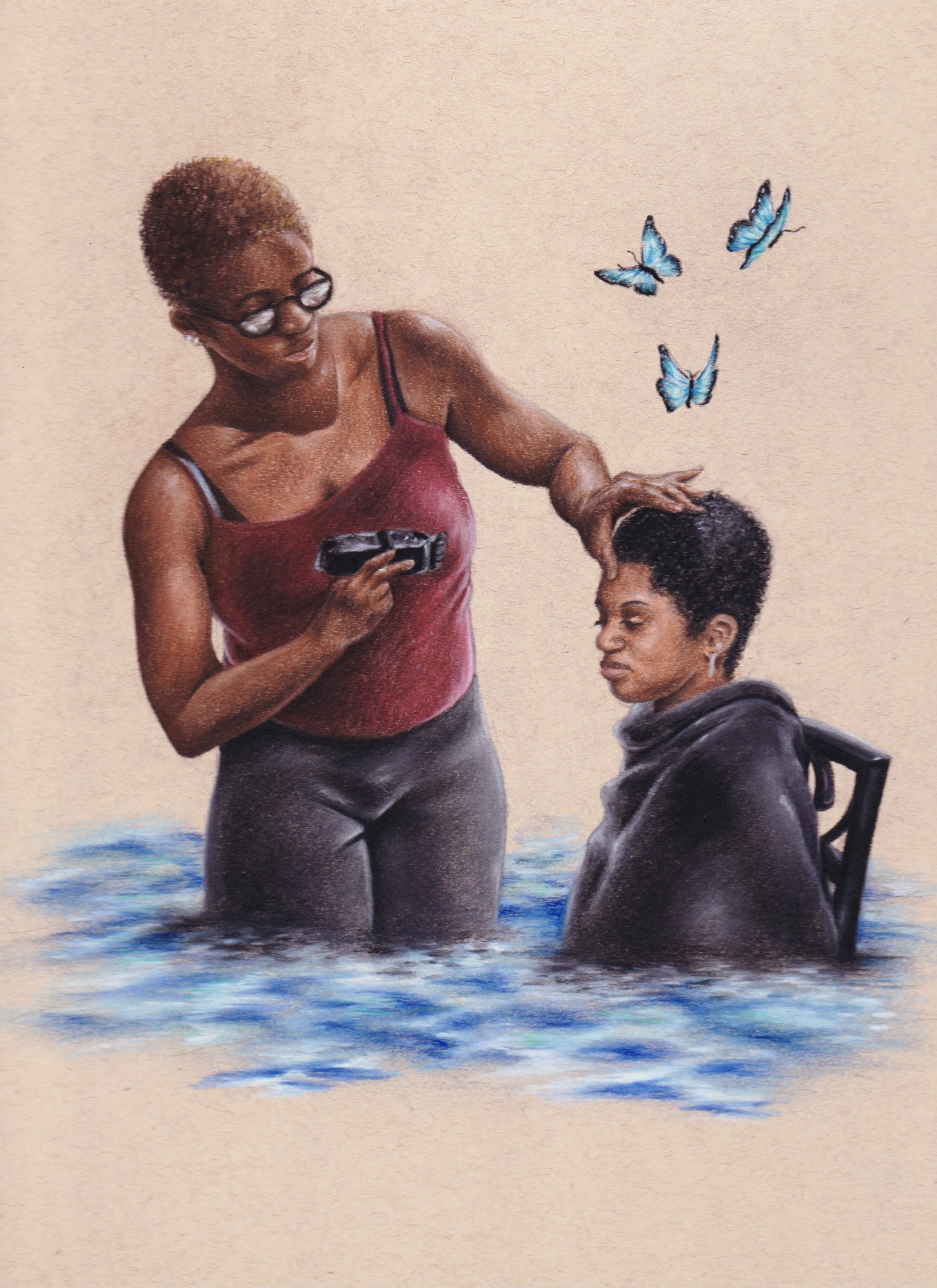 Black woman cutting another black woman's hair with clippers submerged in water with butterflies hovering over the top of them.