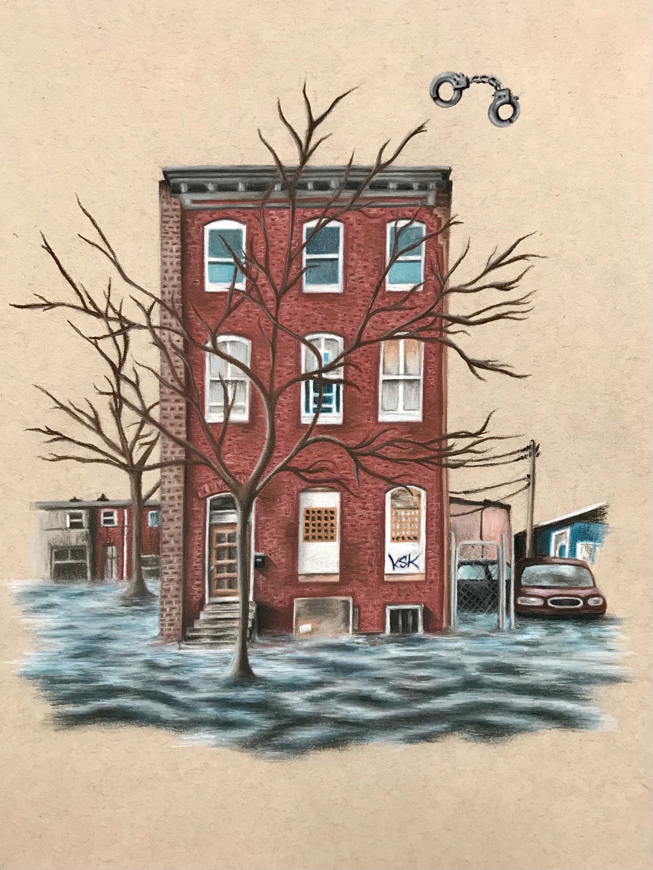 Baltimore-styled row house submerged in water with a pair of handcuffs off to the top right of the image.