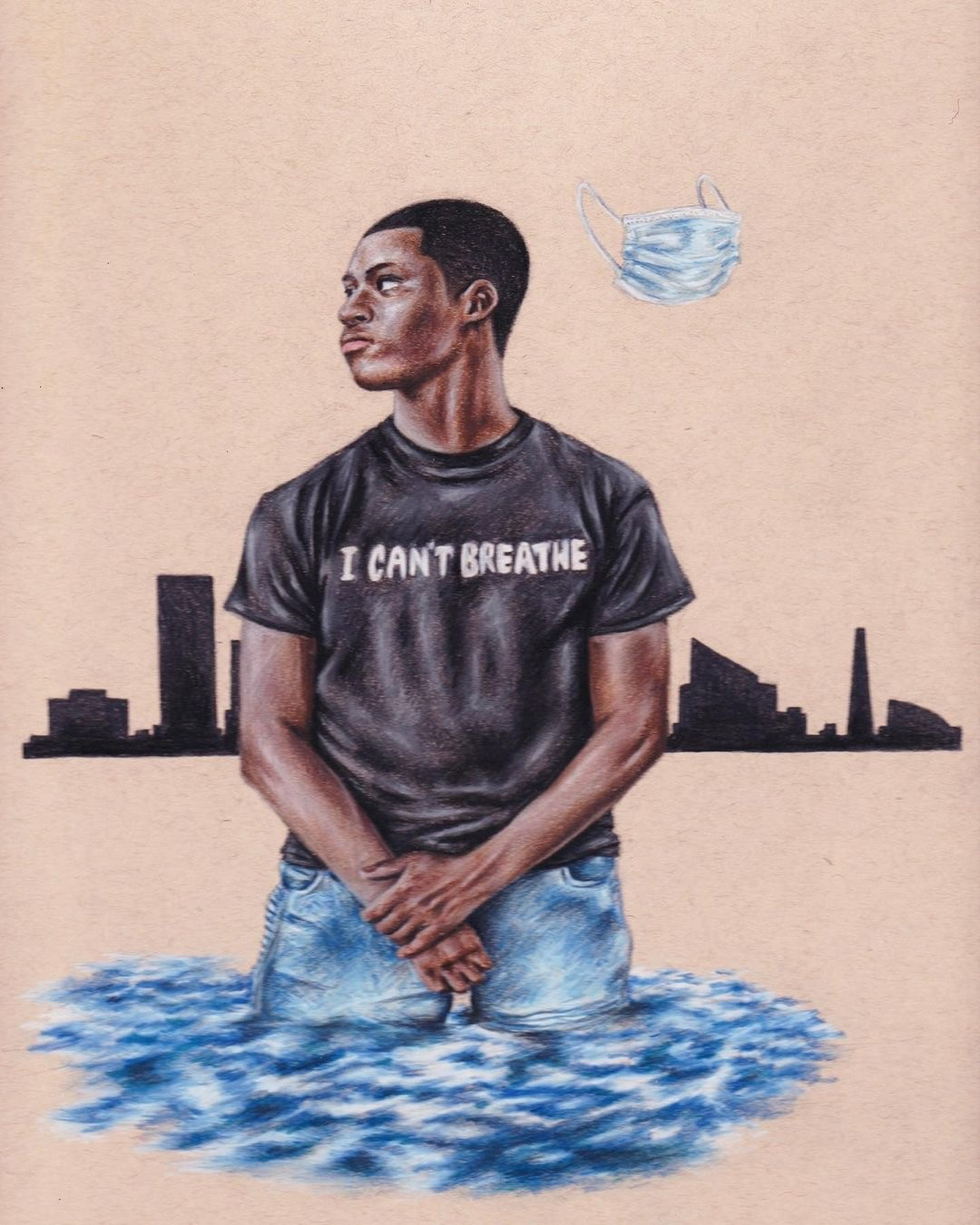 """Black male wearing a black t-shirt with the words """"I Can't Breath"""" on it submerged in water as well as a silhouette of a city in the background and mask to the top right of the image."""