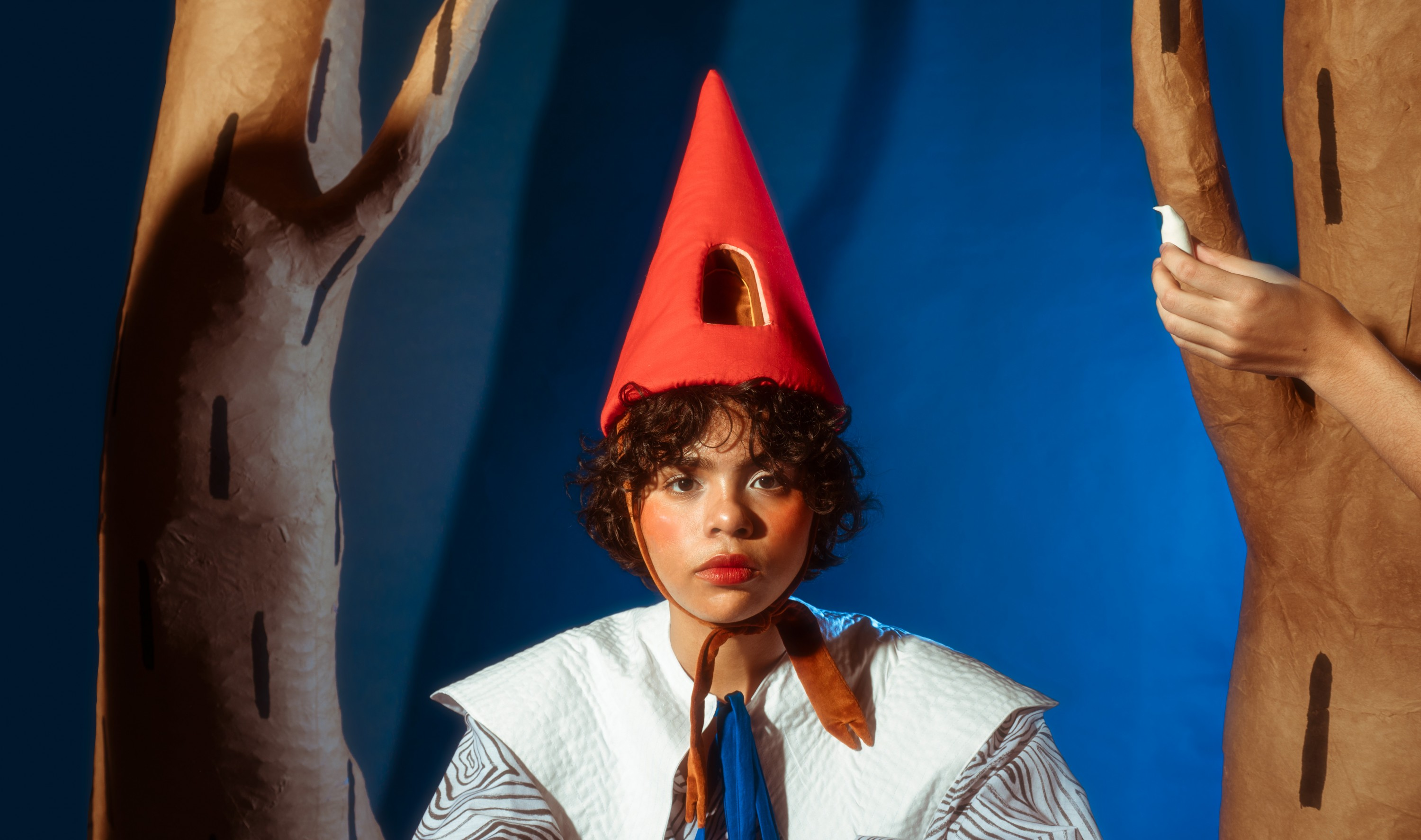 In Image one, you see the head and shoulders of a model wearing a red pointy hat with a nook inside. The model sits in front of a blue backdrop between two paper mache trees that are brown with a painted black dash pattern. The model is looking directly a