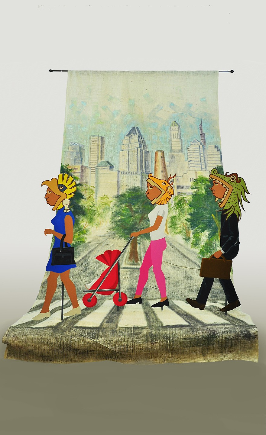 This piece of art represents modern people carrying their identities.The background is Baltimore City.