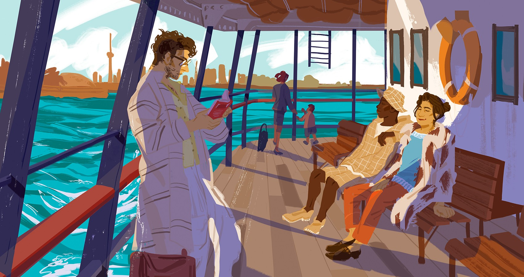 several figures resting on a ferry, the ocean is visible past the boat railing