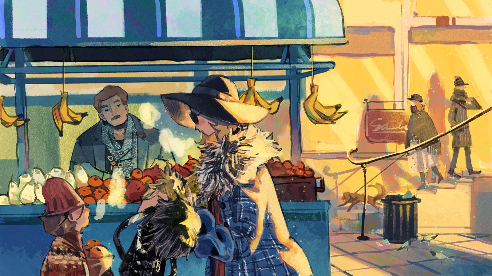 Digital Illustration describing an outdoor market on a cold morning.