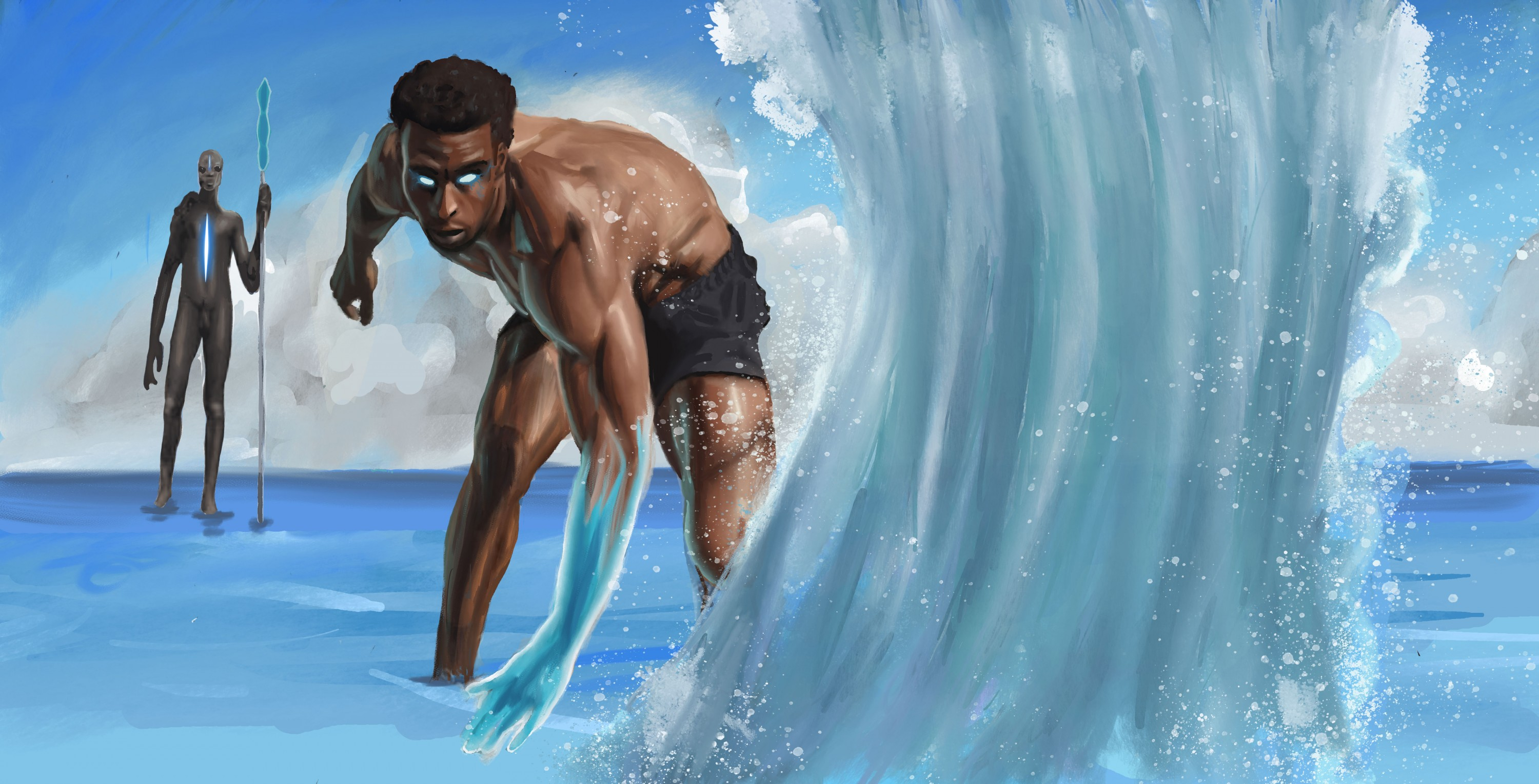 The character is practicing using his water abilities. His eyes are glowing and has no shirt on. The water is being pushed up in the foreground. In the background is one of the water spirits watching him. He holds a staff. He is tall with dark skin and ha
