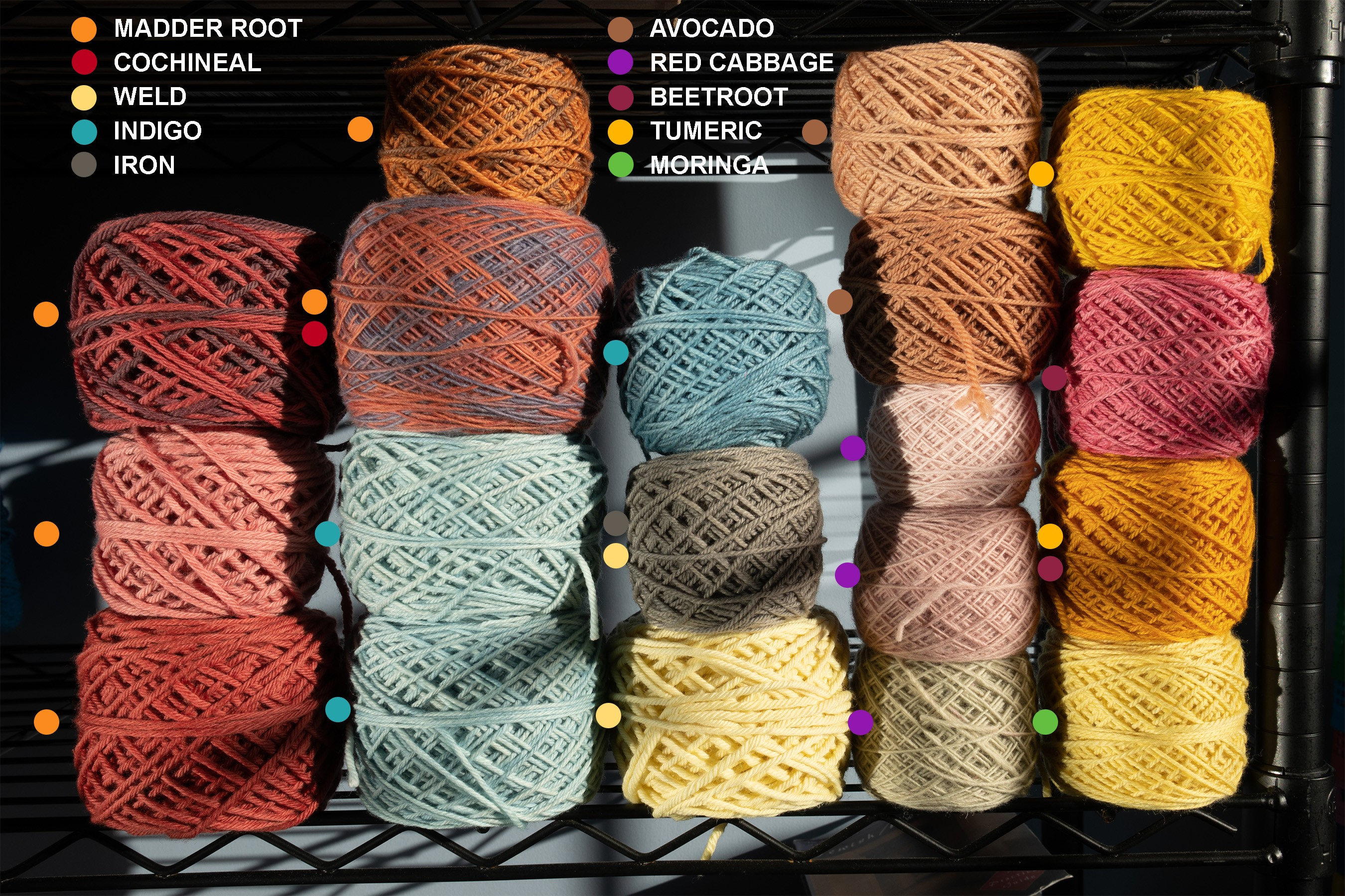 Natural Dye Research on Wool Yarn by Jason Greenberg