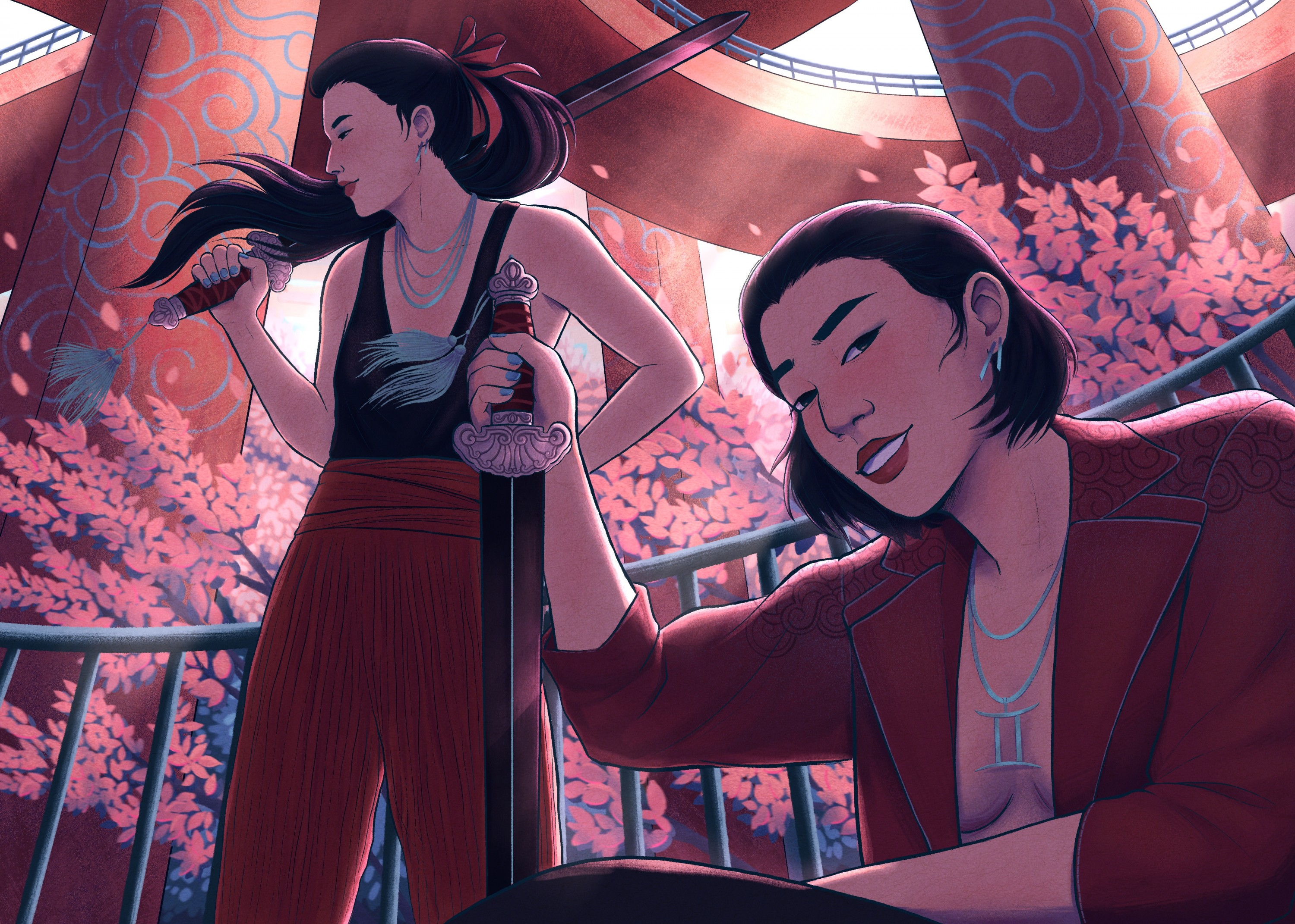 A digital art piece that features a pair of twins, both young women with pale skin, straight dark hair, and dark eyes, who are standing underneath an overlapping concrete overpass. There is a woman crouching the foreground on the bottom right who is smirk