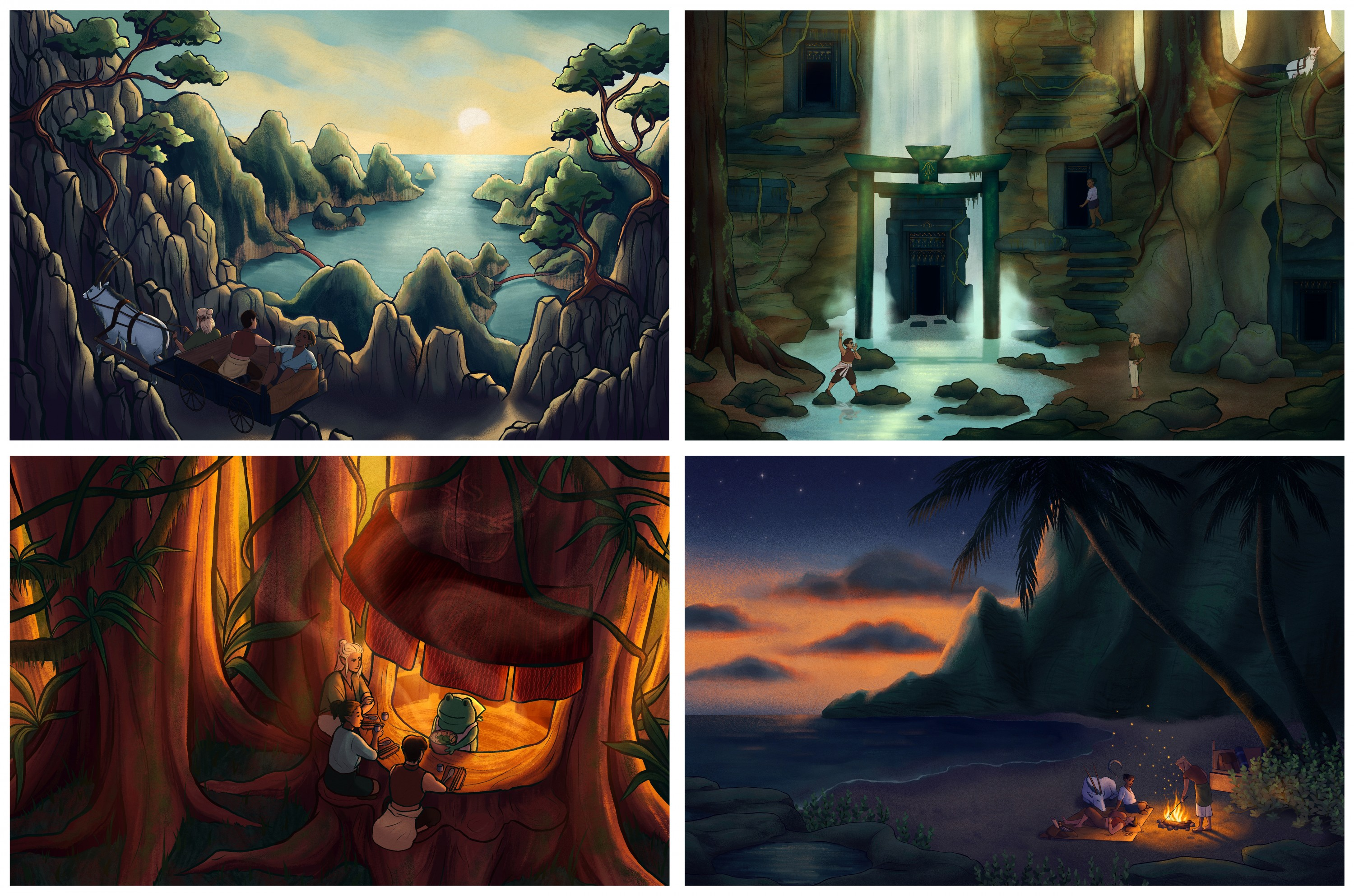 A series of four digital art pieces that depict three characters in various landscapes. The first character, Ko, has short dark hair and is wearing a sleeveless red crop top and loose black pants. The second character, Jerred, has darker skin with half ti