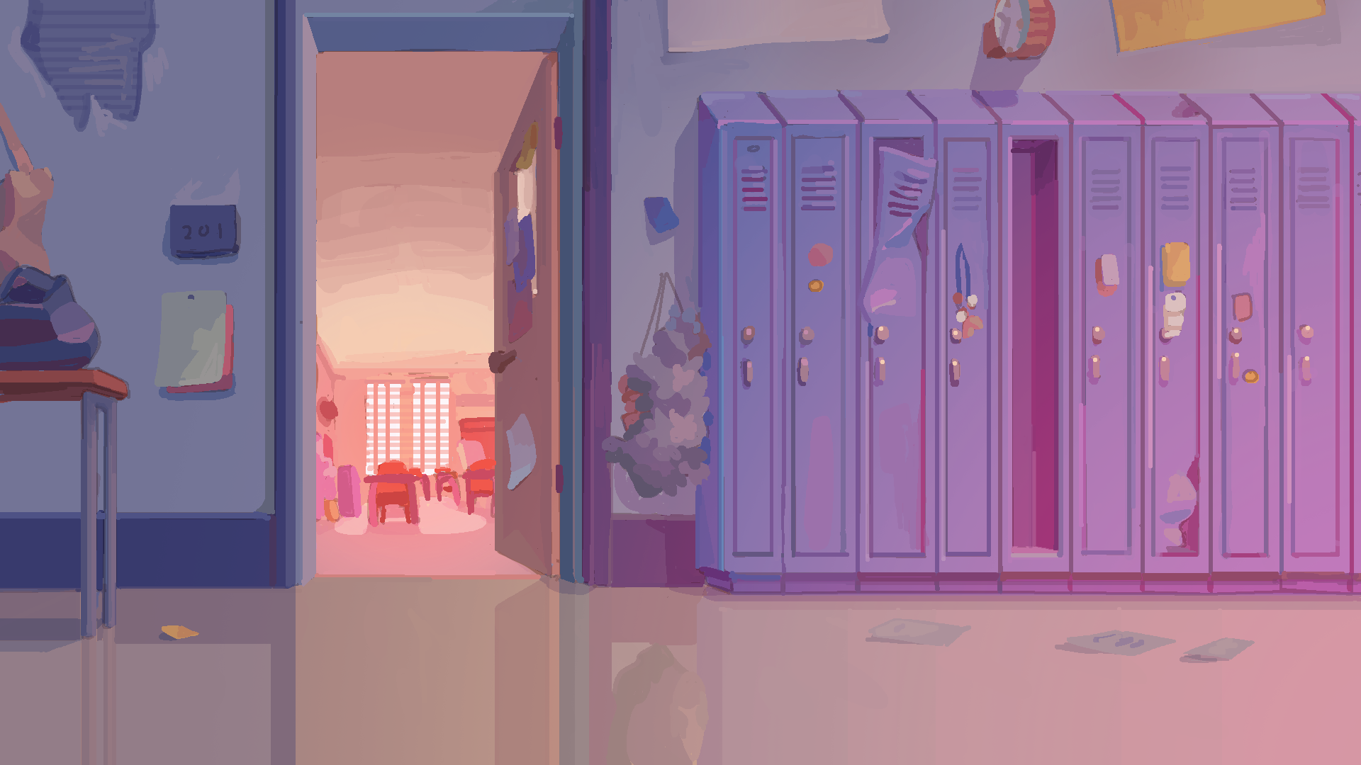 Digital painting of school hallway. Lockers to the right and open doorway and table to the left.