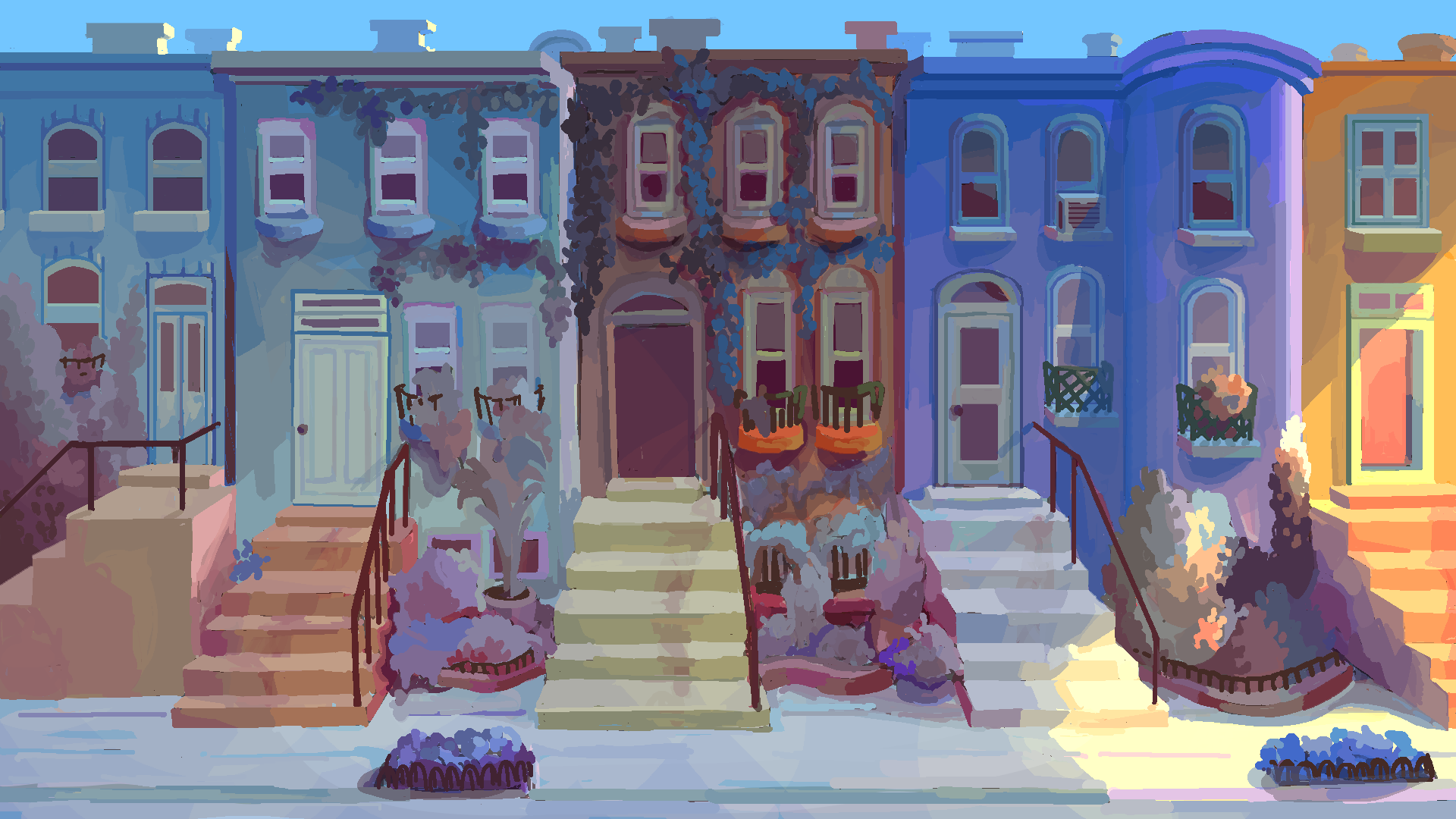 Digital painting of neighborhood. A series of five differently-colored row houses in a row with plants and a sidewalk at the base.
