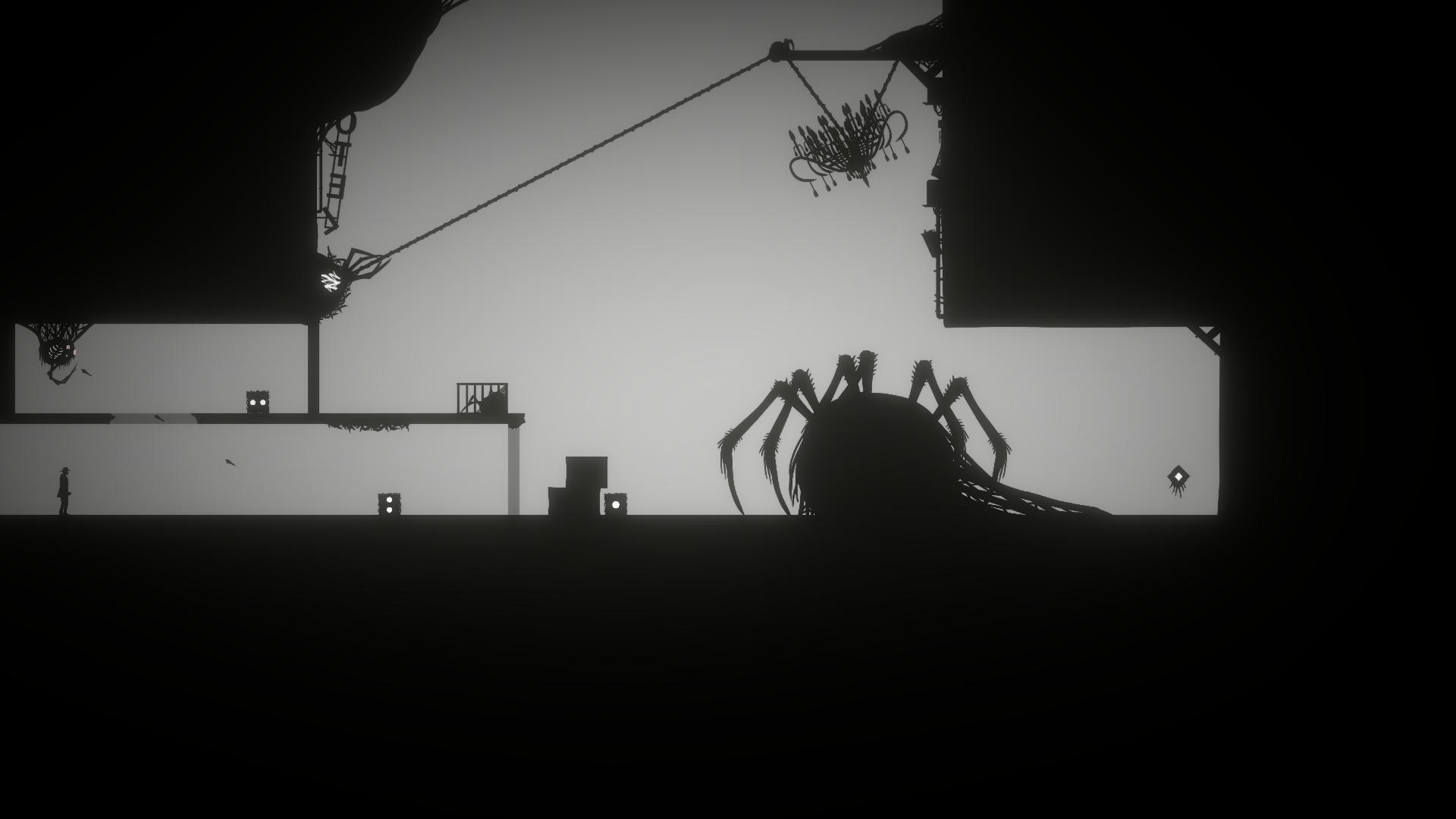 Black and gray room  where the Player trying to solve an puzzle to get past an giant monster blocking the exits.