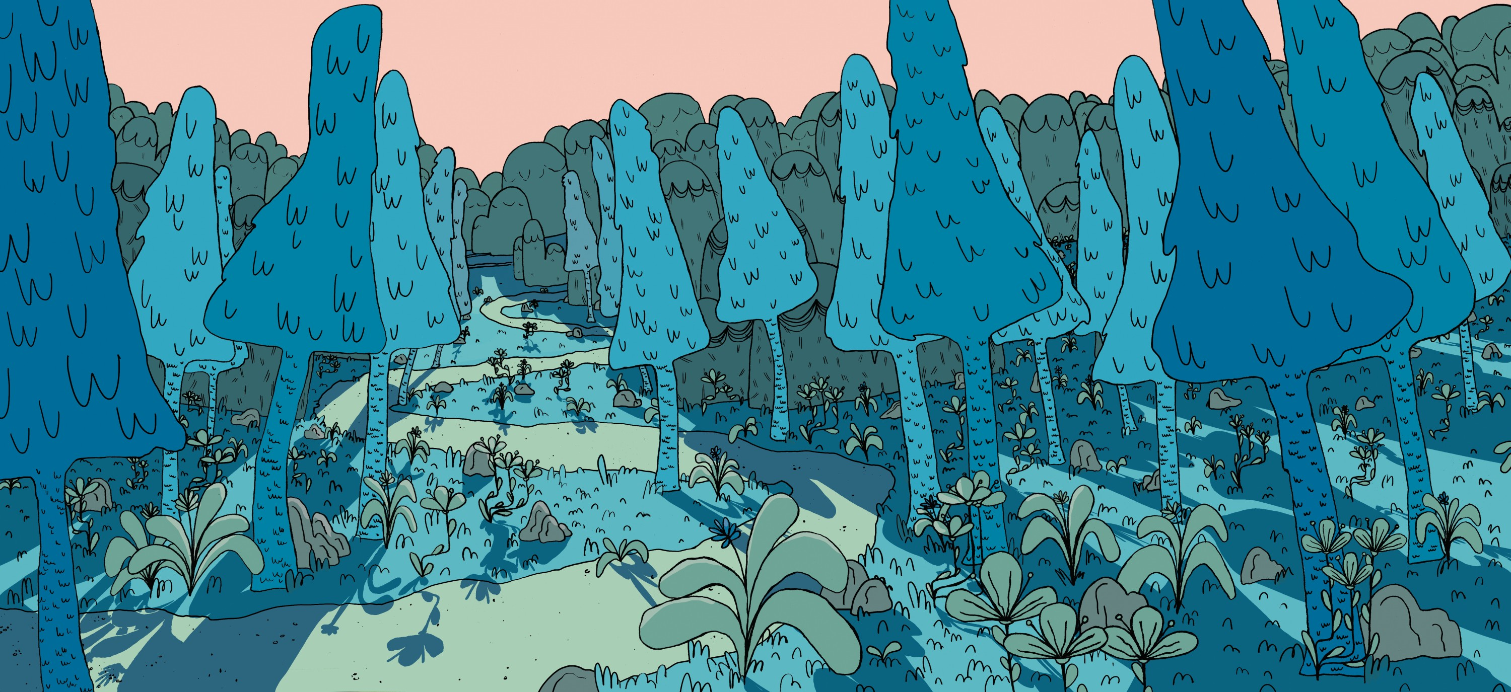 Visual development piece showing a background full of trees, short foliage, rocks, and mountains in the distance. The trees are a rounded triangle shape with tall thin trunks and a winding path runs through the middle of the piece all the way to the mount