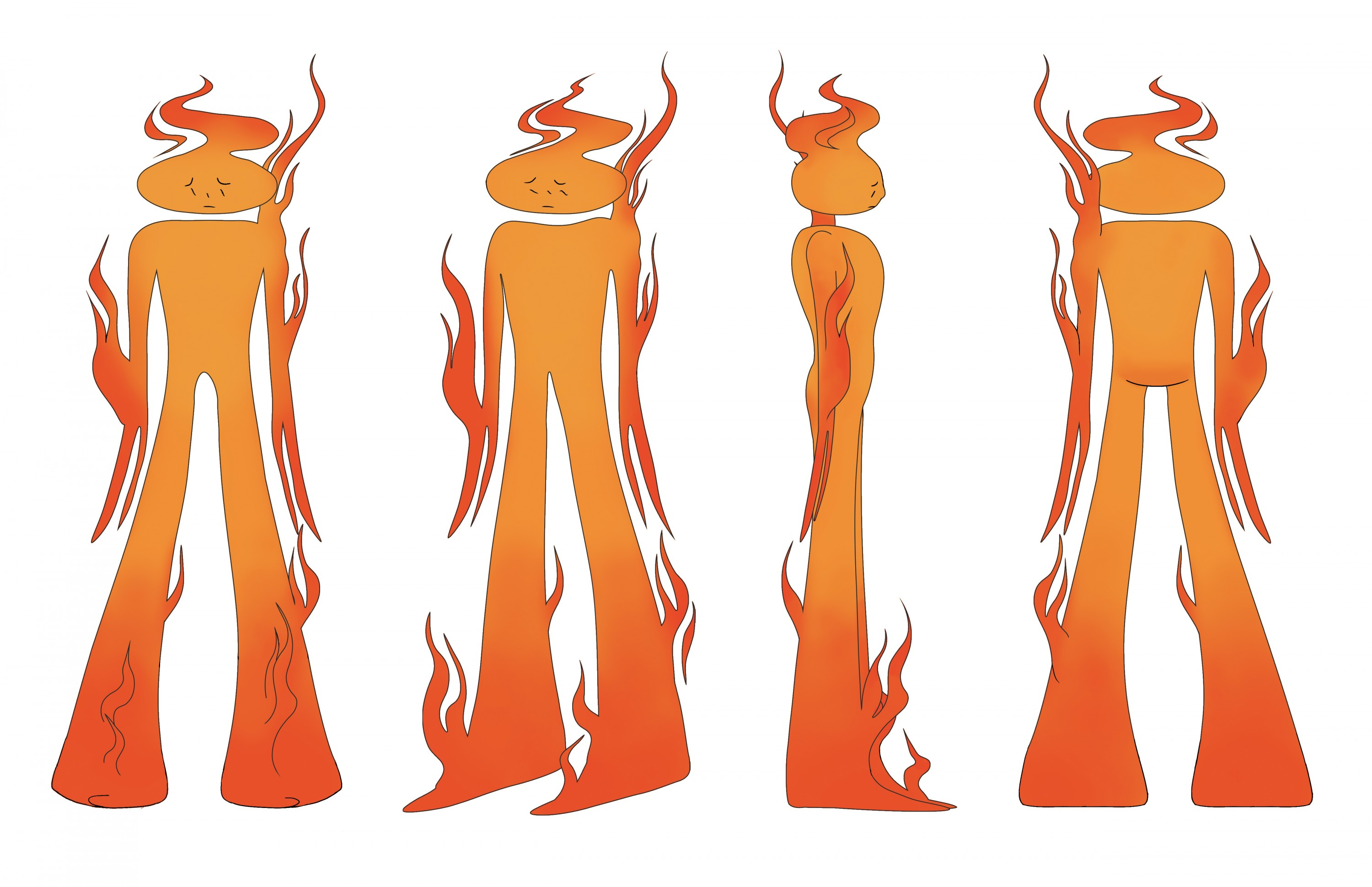 A visual development character design piece showing the character named Solace from multiple different angles. Solace is made of fire and wears no clothes, he is humanoid with thick-heeled feet, no toes, long spindly two-fingered hands and a slightly floa