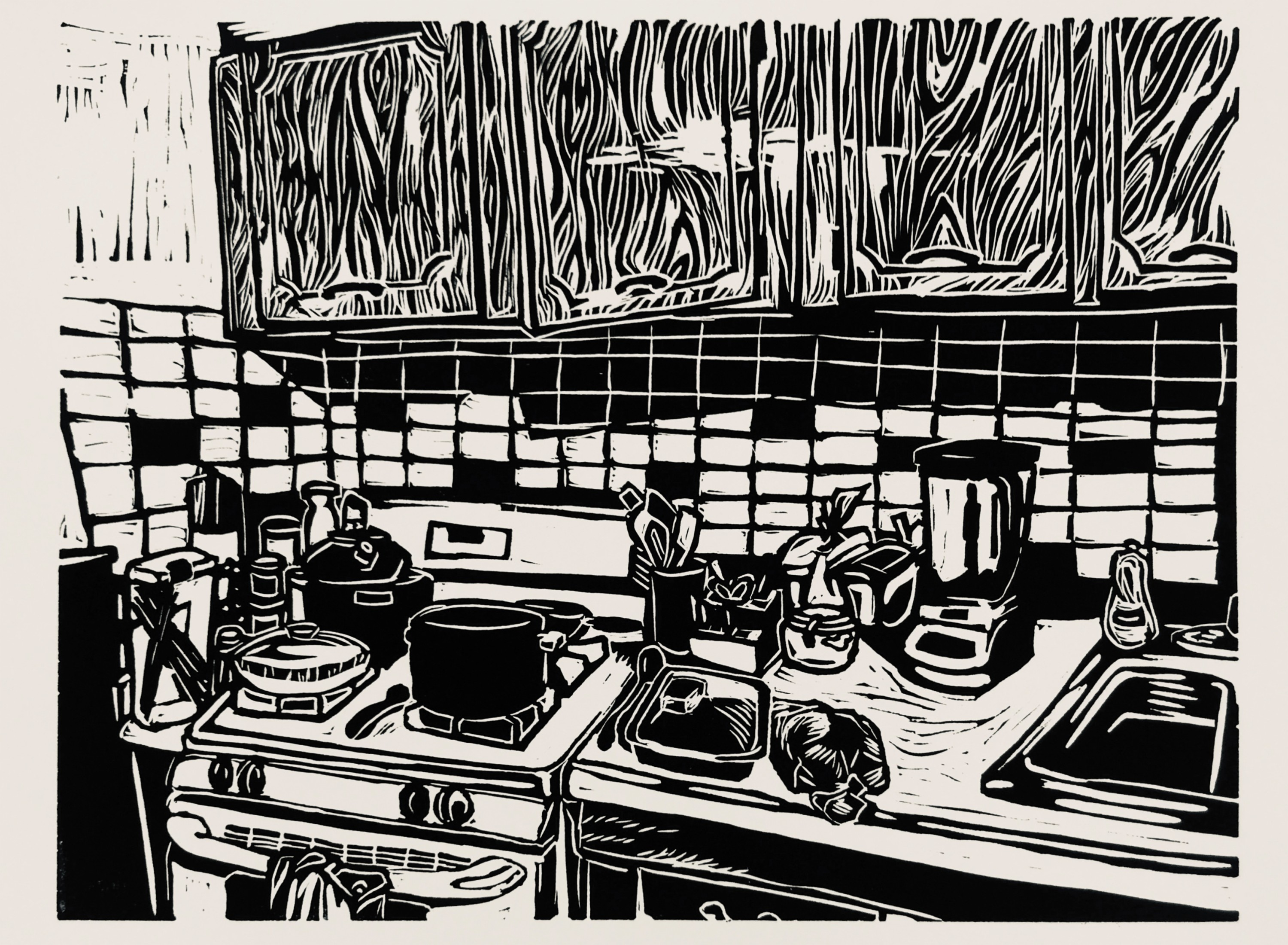 A black and white print of a kitchen space.