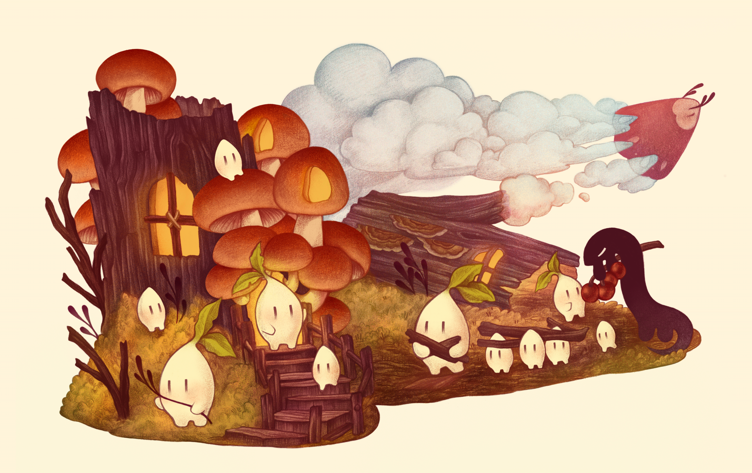 A scene of a mushroom-covered tree stump converted into a small home for characters called Seedling Sprites, which are seen collecting materials such as sticks to prepare for the winter. Another character called a Newt is delivering berries to some of the