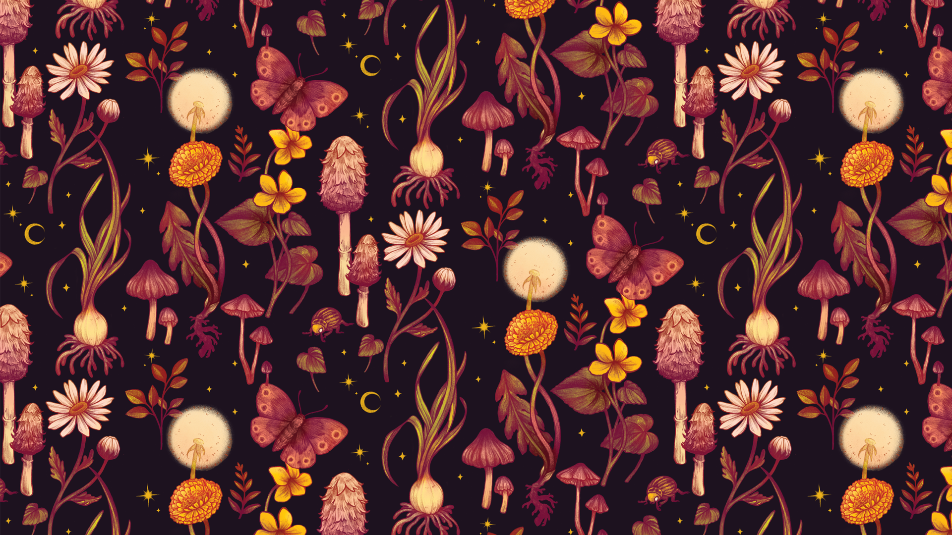 A pattern of brightly colored plants, mushrooms and insects on a dark purple background. This pattern includes spring onions, yellow violets, dandelions, shaggy ink cap mushrooms, inocybe mushrooms, oxeye daisies, potato beetles, and buckeye moths.