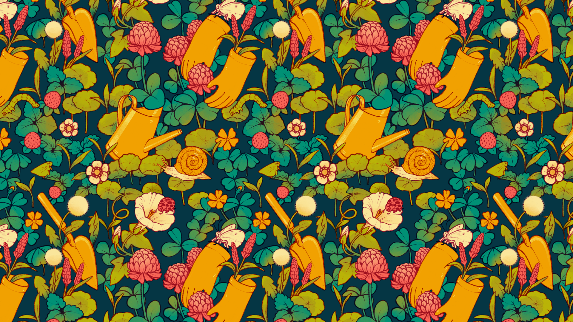 A pattern of garden tools, weeds, and so-called pests on a dark teal background. This pattern features a pair of gardening gloves, a trowel, and a watering can placed amidst a crowded scene of dandelions, wood sorrel, mock strawberries, hedge bindweed and