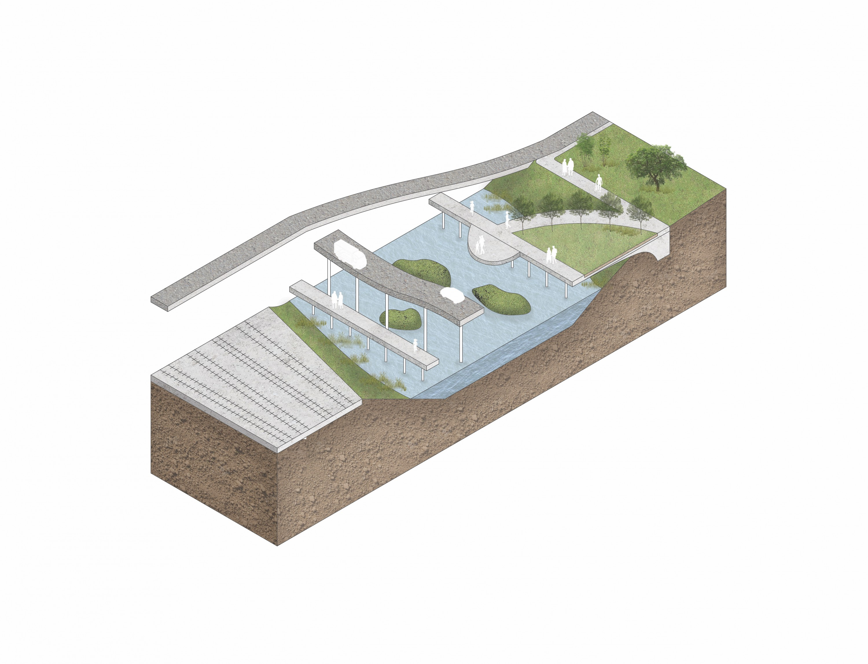 Site plan and isometric section of the Jones Falls river walk.