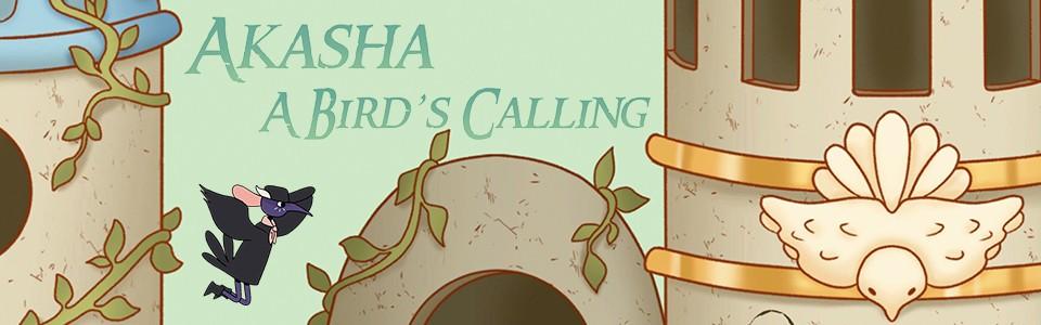 Illustration and logo for Akasha: A Bird's Calling