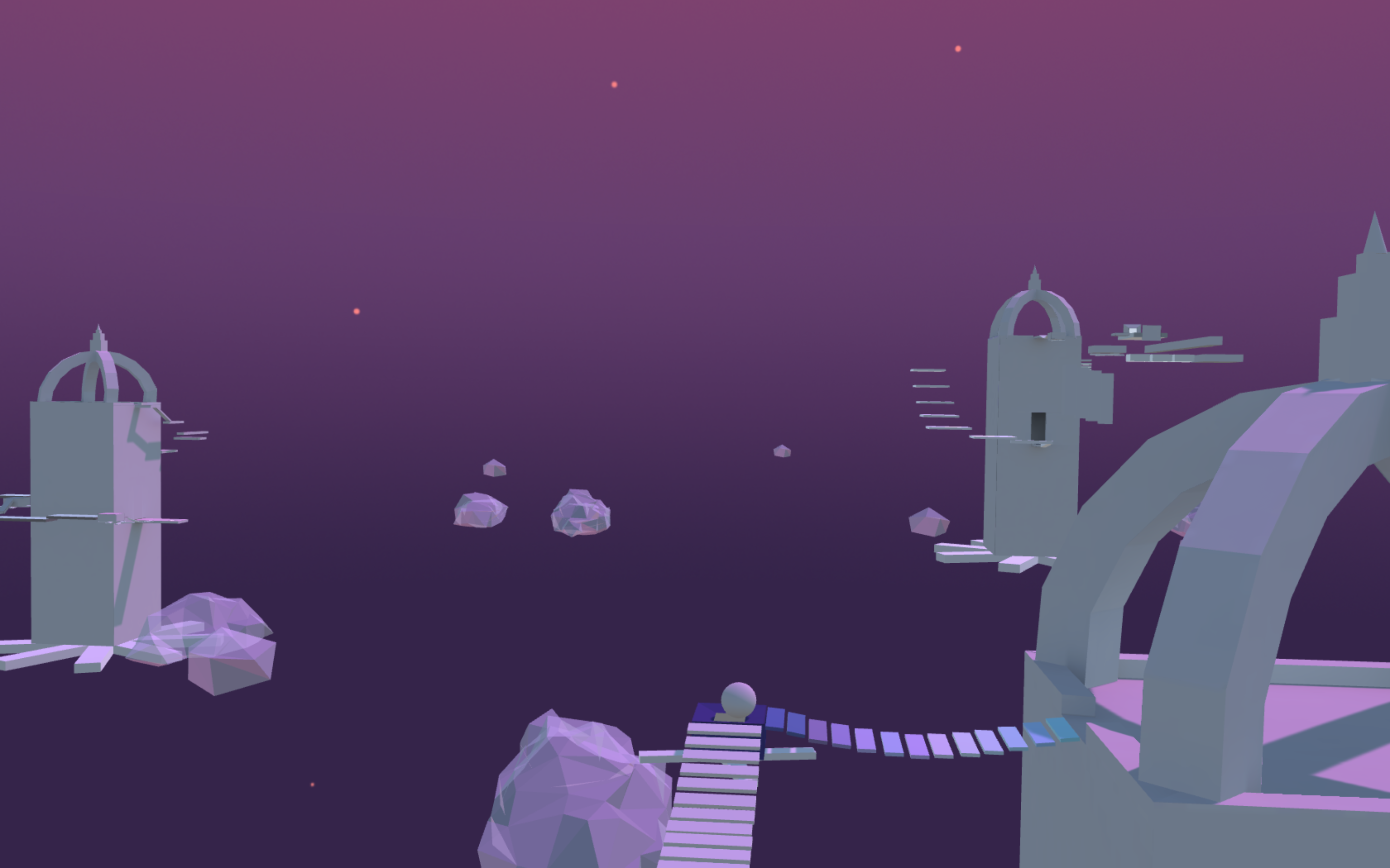 Screenshot from the game, featuring floating temples and suspended bridges.