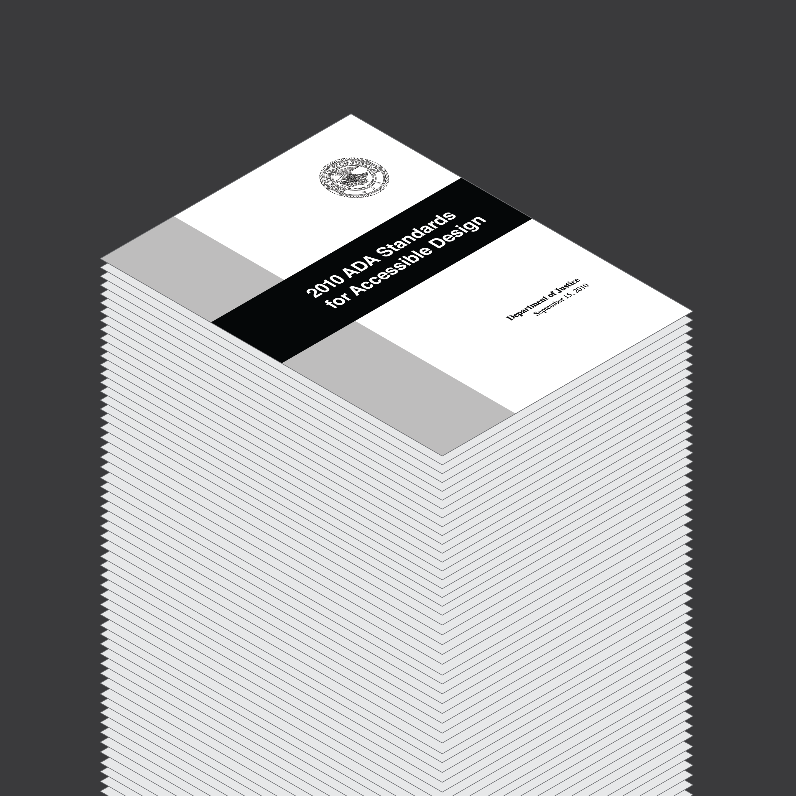 An illustration of a towering stack of papers. At top, we see the front cover for the 2010 ADA Standards for Accessible Design.