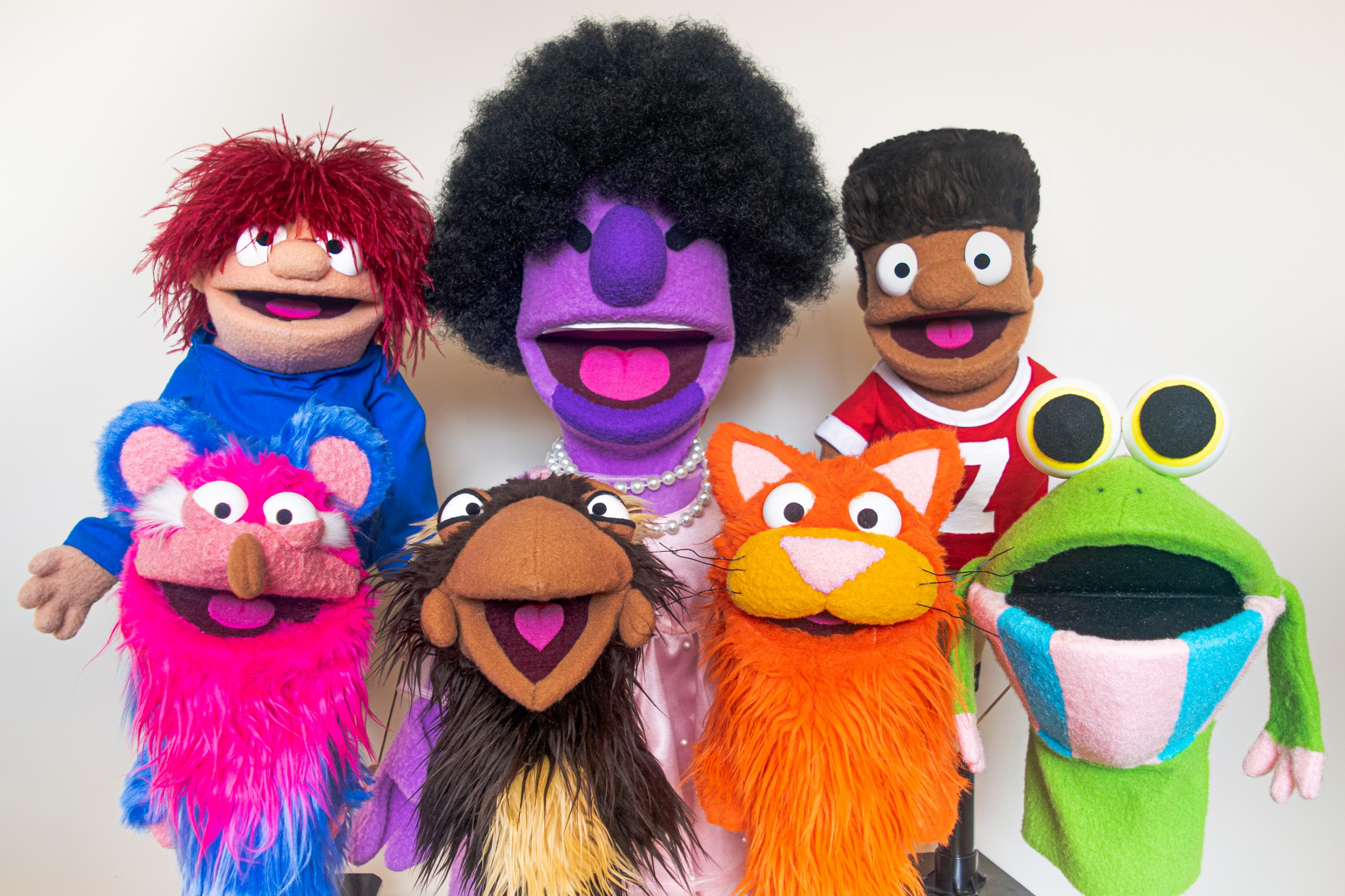 a group of seven original multi-colored puppet characters. two young boys, a purple woman, a cat, an opposum, a frog, and a chicken.
