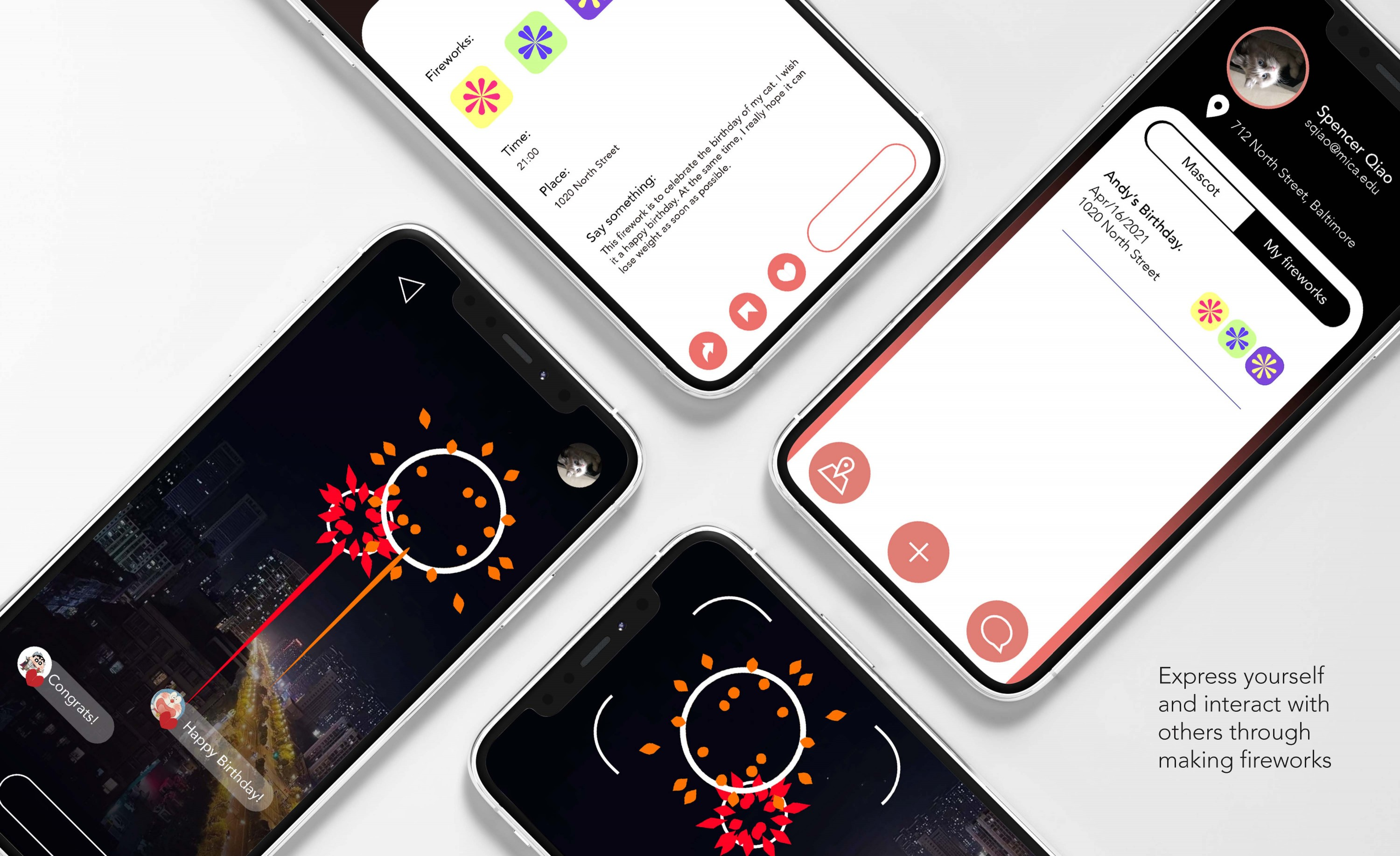 With the development of society, people's pressure is increasing, and most people lack an effective way to express and relieve their mood. The purpose of my app is to let people use fireworks to help people ease their emotions. People can express their em