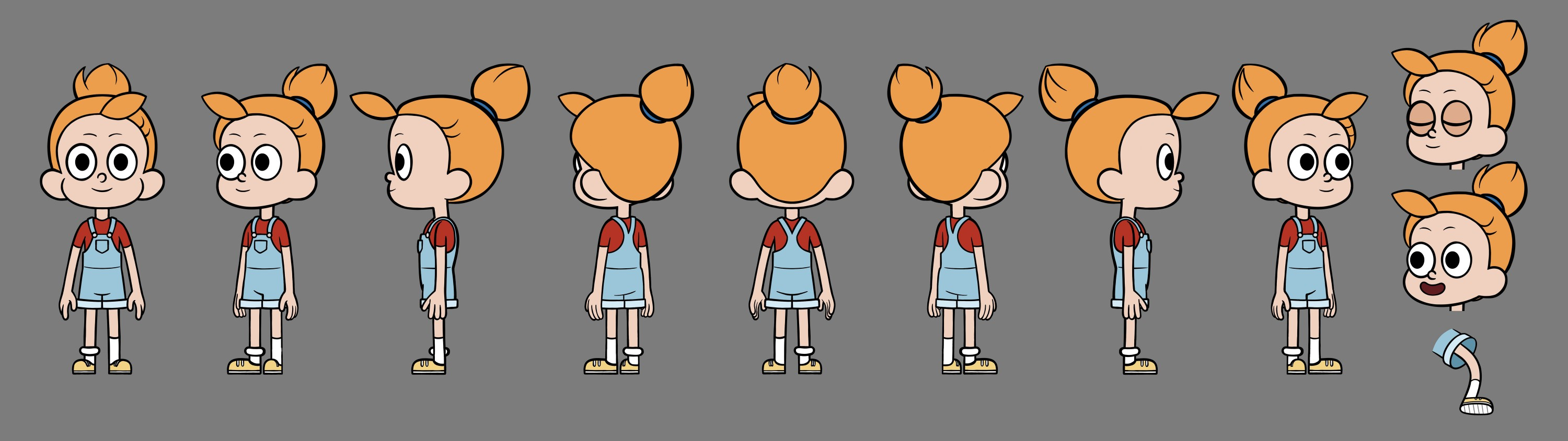 Character design turnaround, facial expression exploration sheet, and hand pose exploration sheet. All depict a redheaded child wearing overalls.
