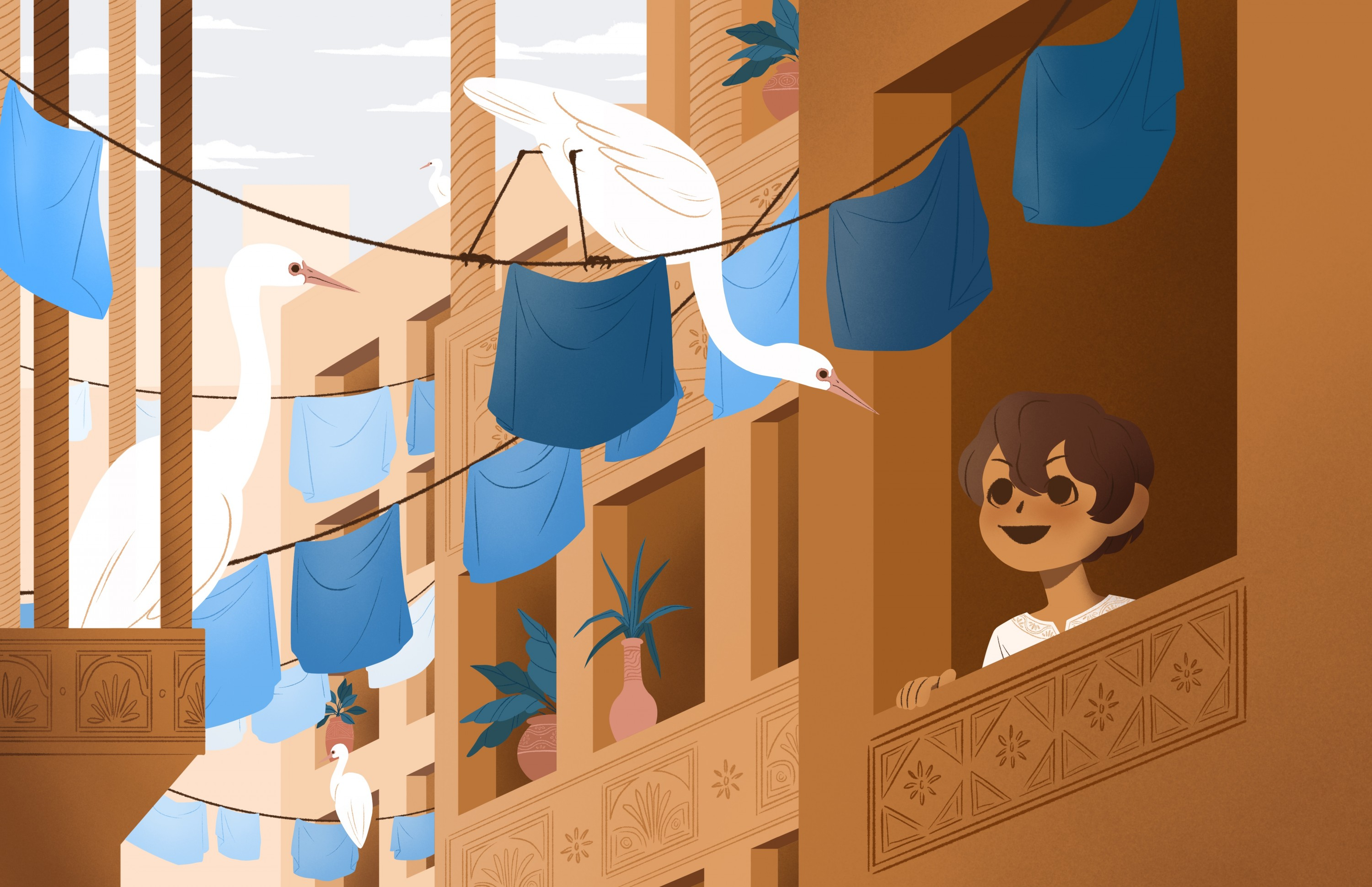 Illustration of a young child smiling at a flock of white birds sitting on a clothesline.