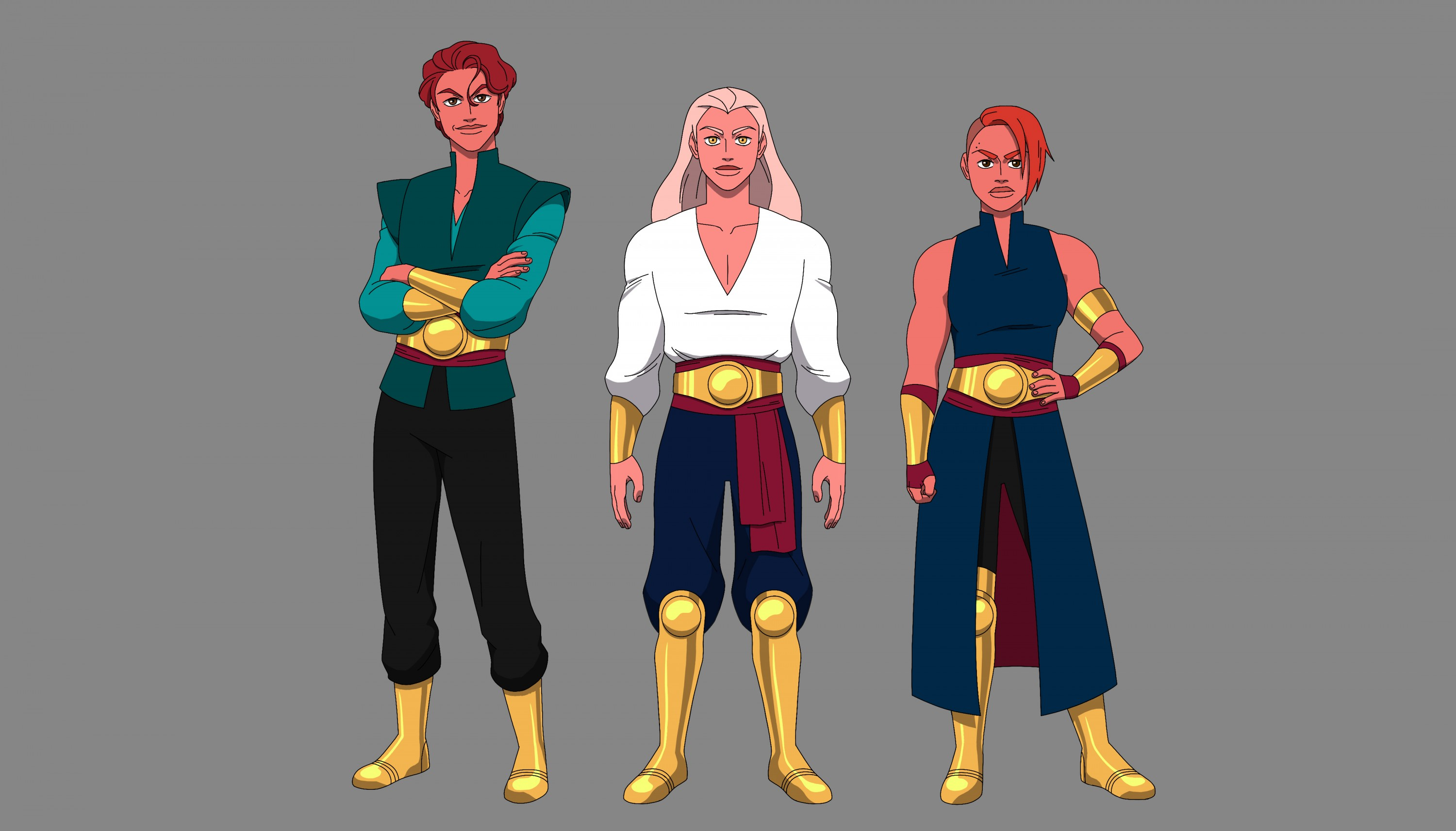 Character lineup of three characters, prop design turnaround of a golden sword with a curved blade, and FX design of green fire.