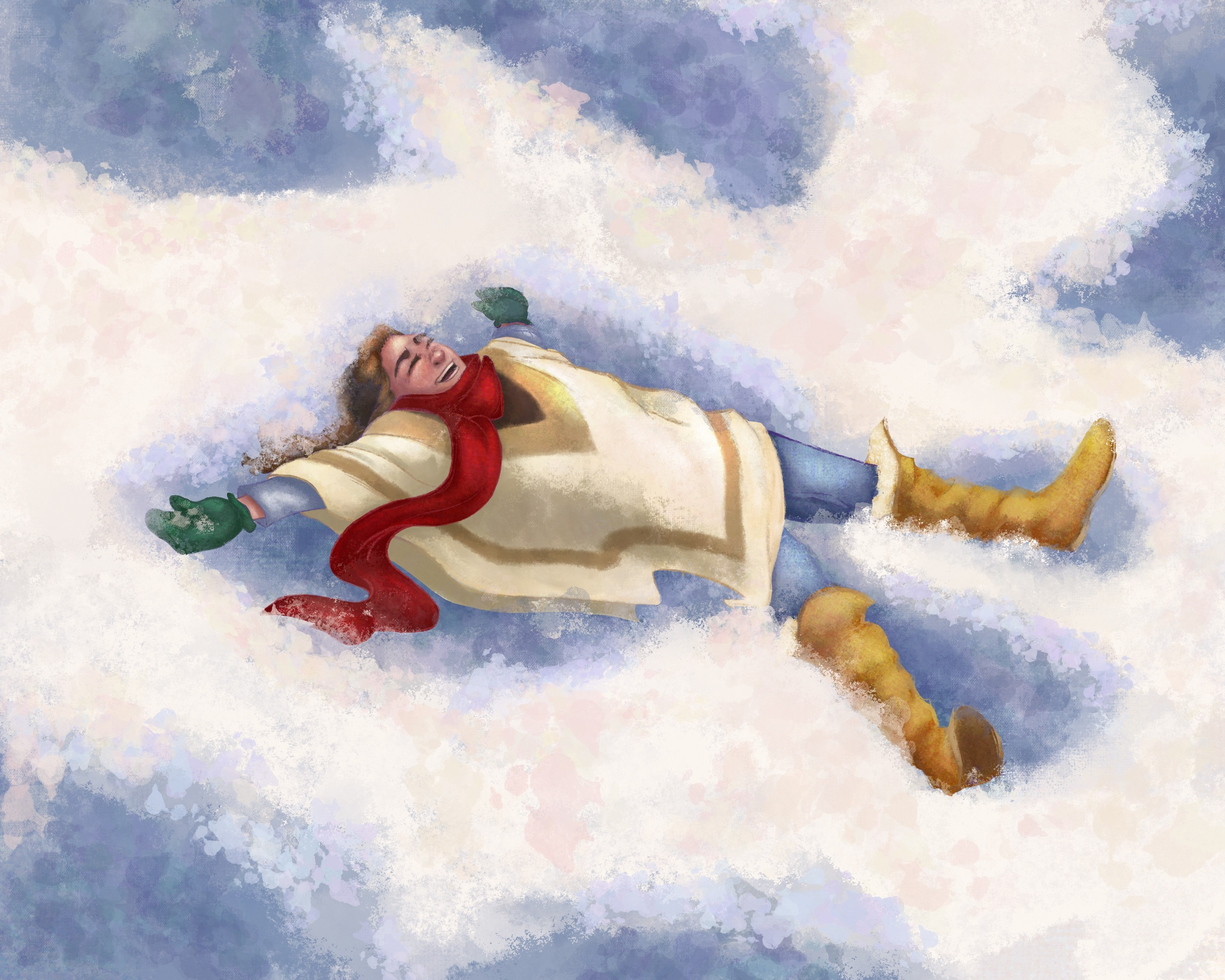 An illustration of a girl making snow angels.