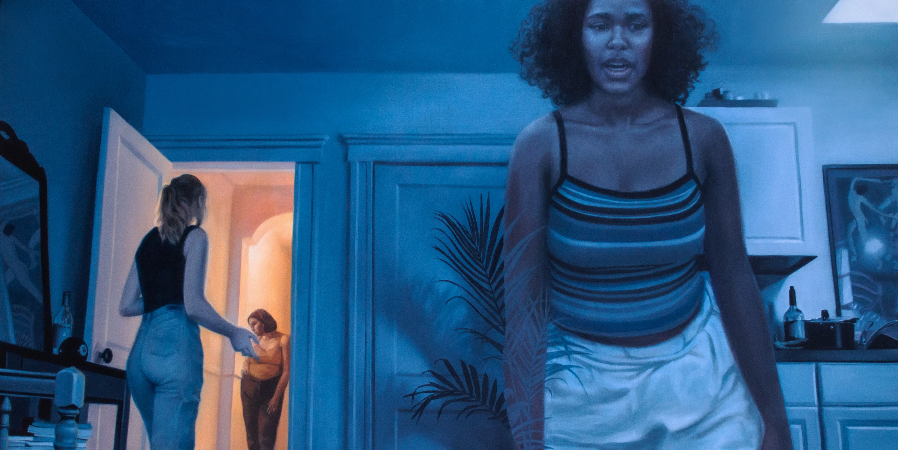 A figure is walking close to the viewer in a blue lowly lit room while two figures argue in the background. One figure in the background is entirely in a bright warmly lit room looking down and the other is standing in the doorway.