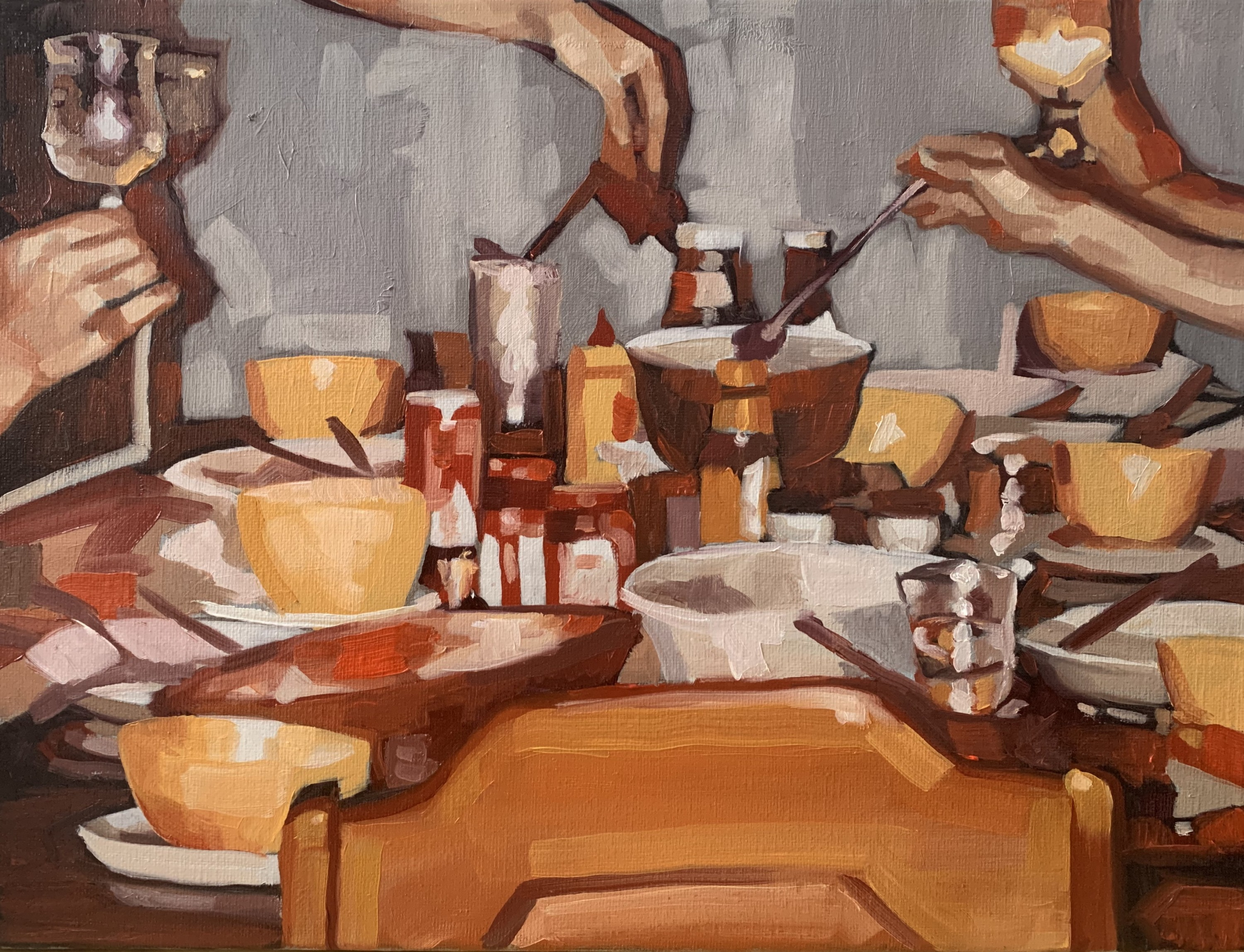 There is a table full of bowls, plates, glasses, and food with two hands reaching to serve themselves food and two hands holding up glasses to a toast. The whole painting is busy and warm using thick brush strokes.