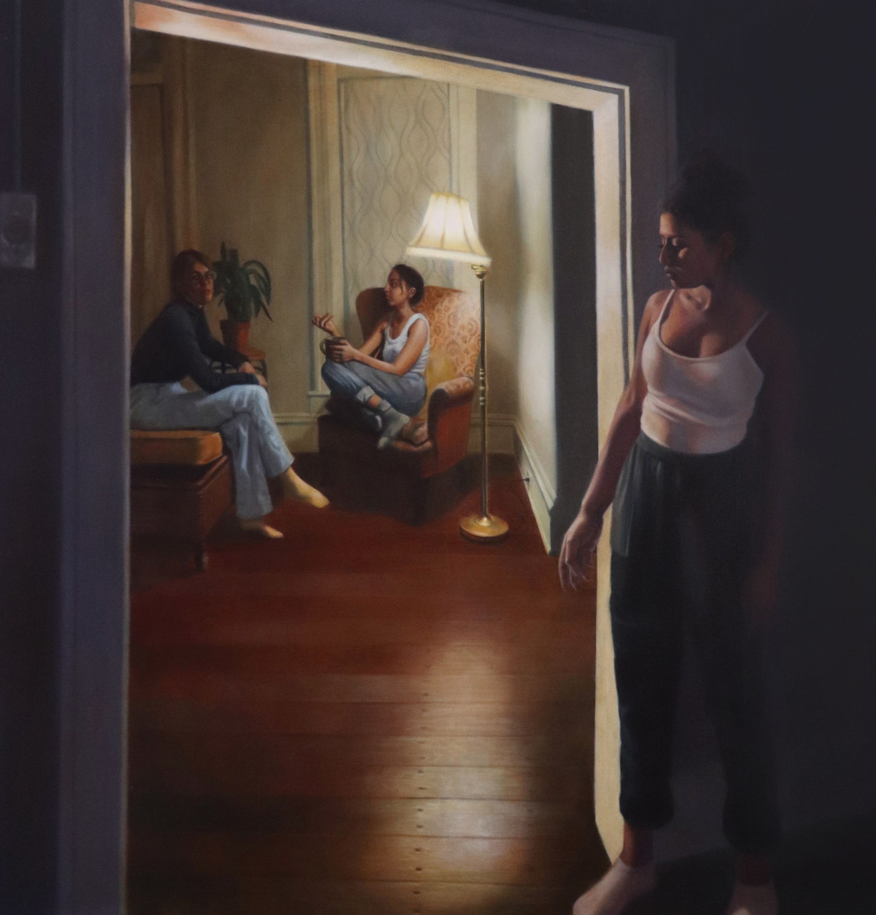 Two figures converse in a warmly lit green room. One of the figures is looking directly at the viewer while the other is speaking to them. Another figure stands hidden behind a doorframe closest to the viewer while listening to their conversation in the d