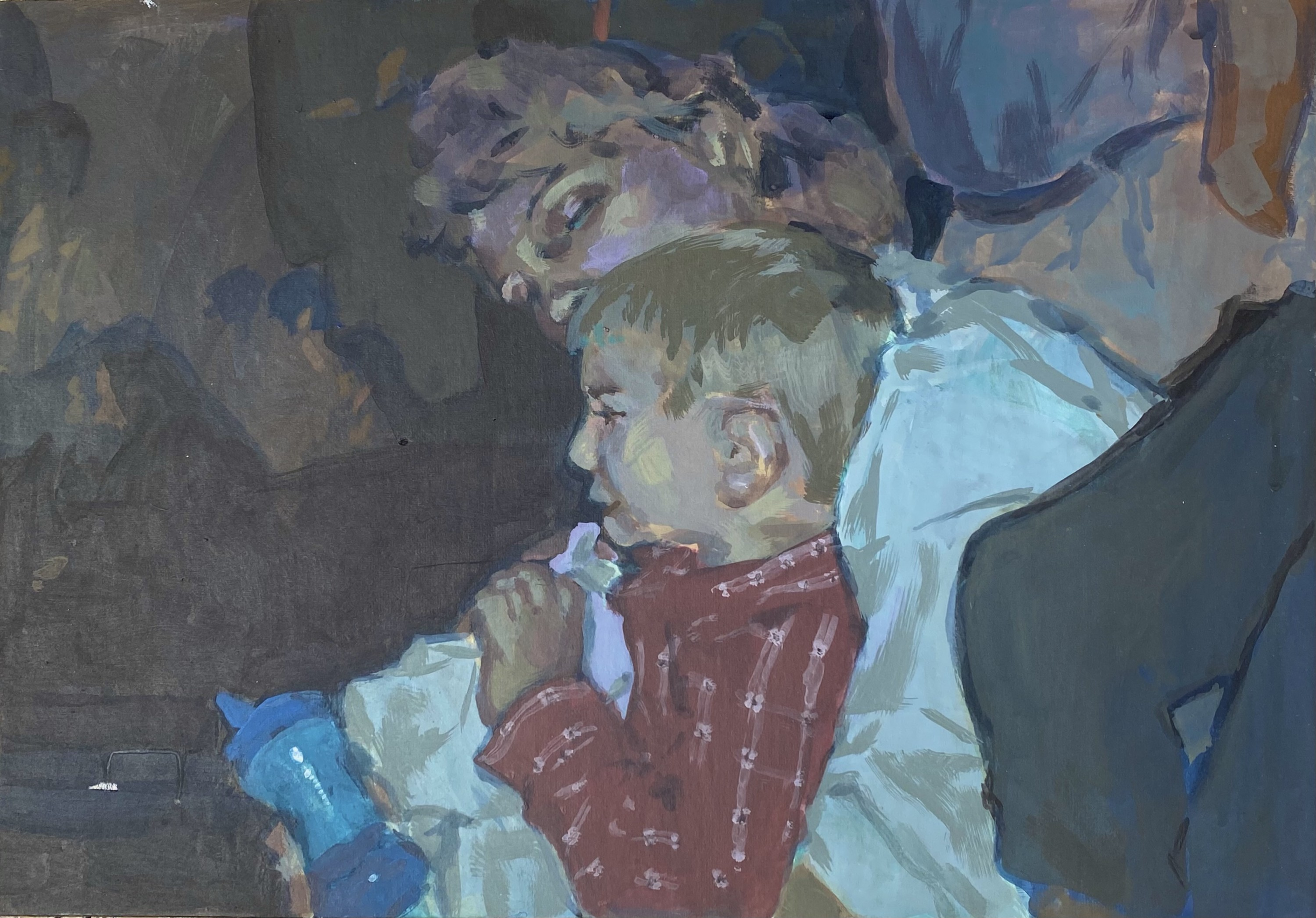 Mother holding her son carved using painting from an old photo of the same mother and son for tone.
