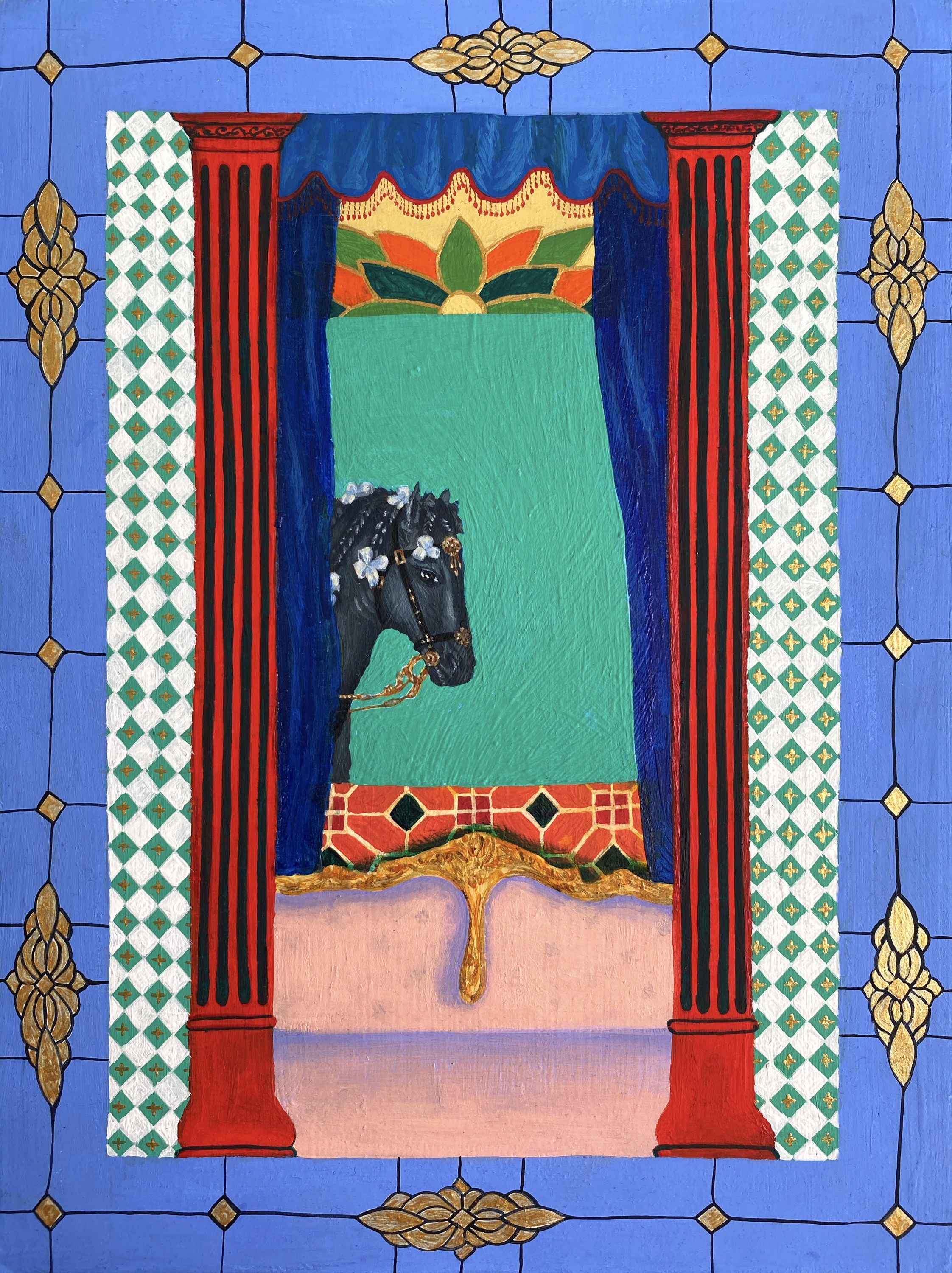 The painting consists of a horse's head framed by a window. In the room there is a pink rococo style sofa and ornate curtains. The furniture is contrasted with tiles and red columns. The outer border of the painting is pastel blue and has glasswork detail