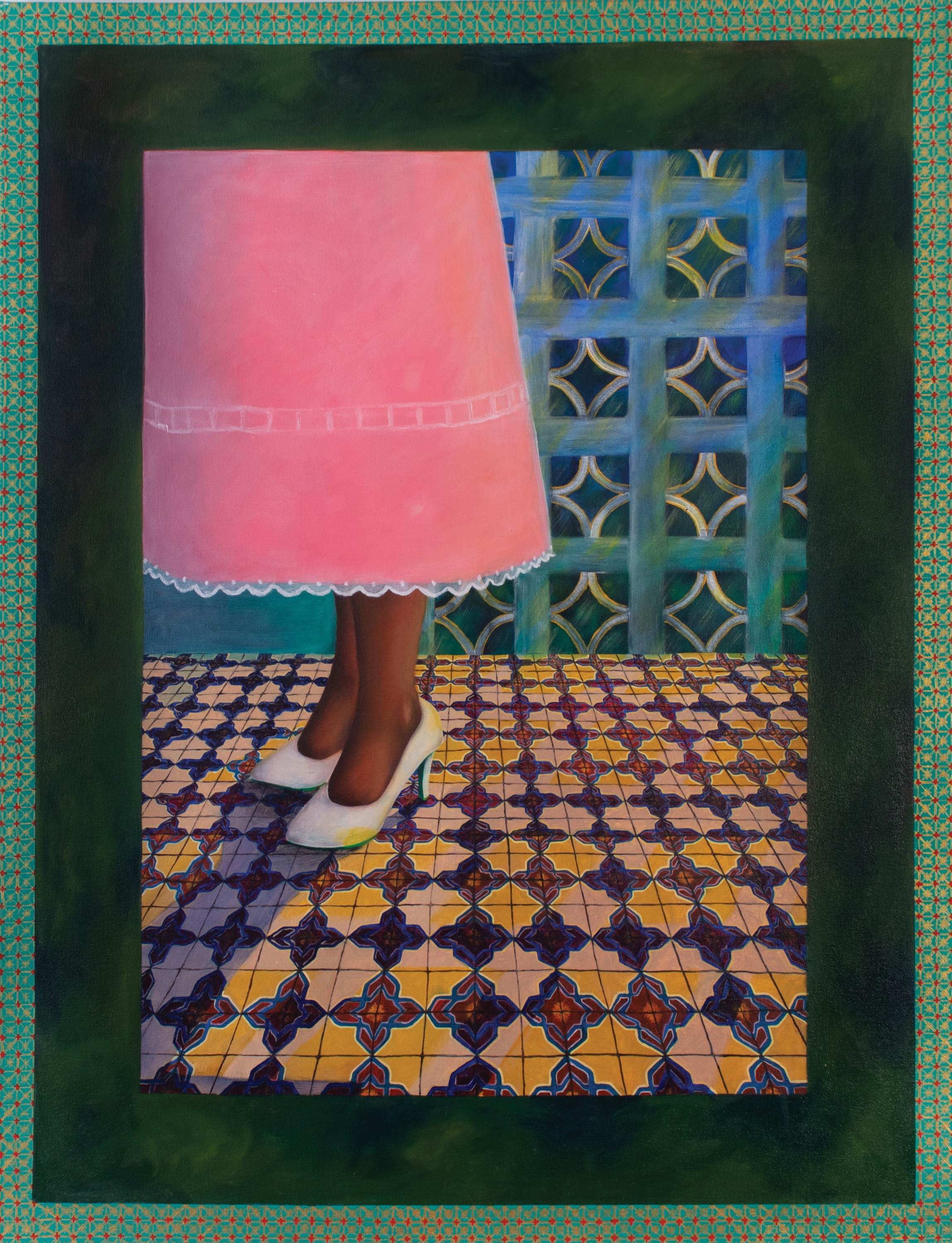 Irizarry is a painting made with oil and acrylic. At first glance, it is a painting of a woman in a pink dress standing on a decorative tile. The painting consists of three sections, an outer frame, a second frame, and the depiction of the woman. The oute